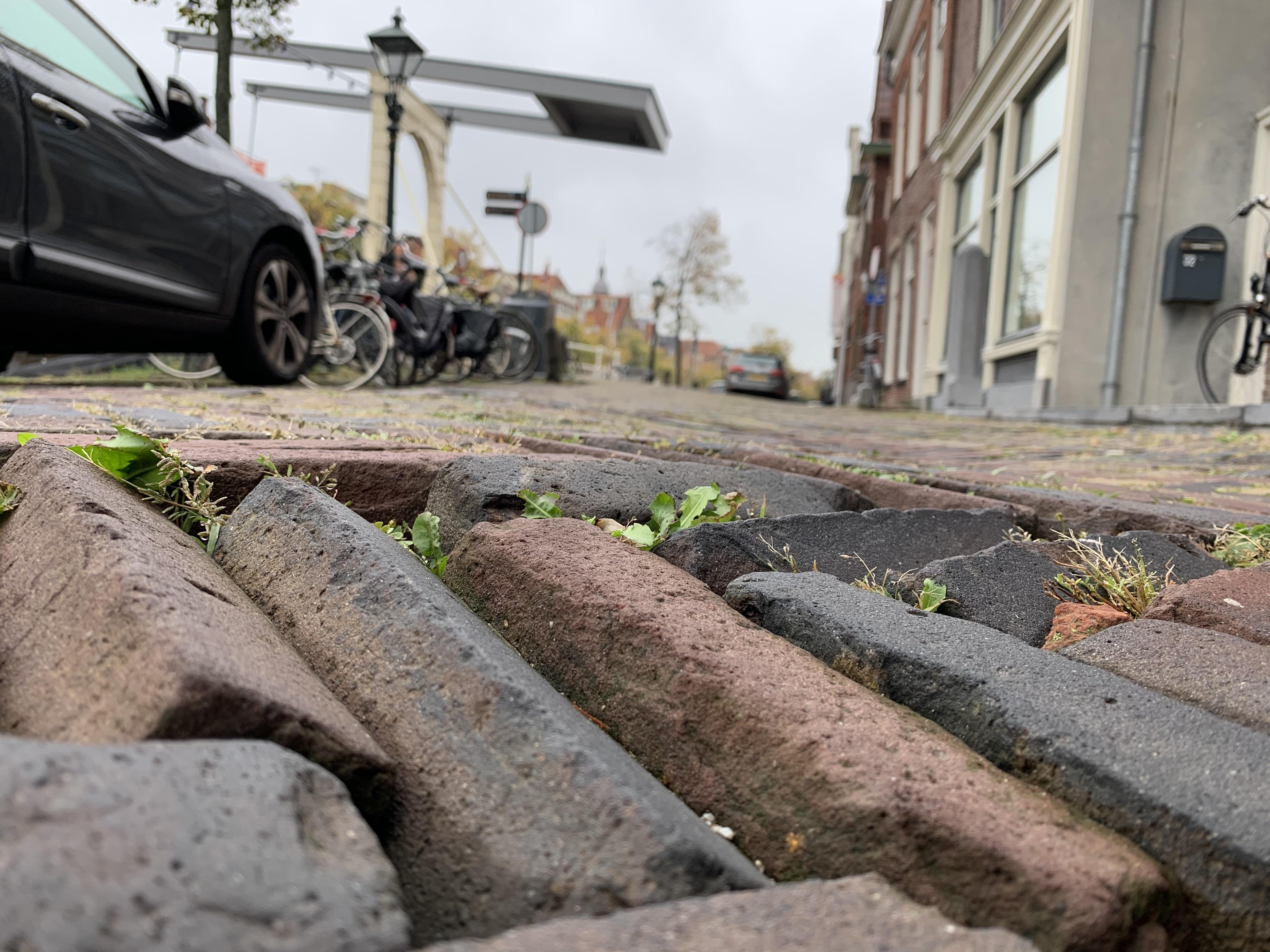 Hobbelend over het Luttik Oudorp en het Fnidsen; straatstenen in Alkmaar liggen schots en scheef