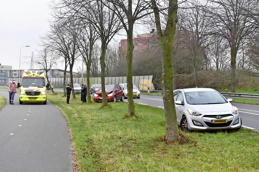 Eend veroorzaakt ongeval in Oegstgeest, auto total loss