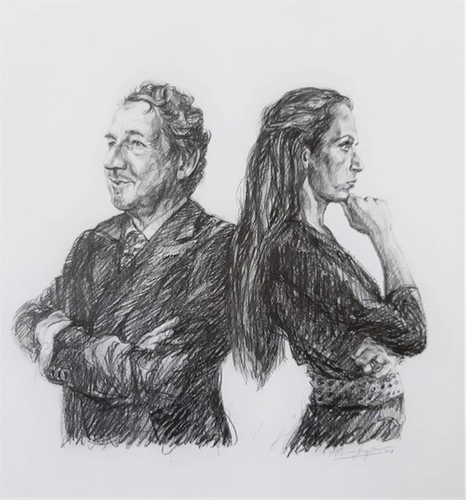 Elisa Pesapane tekent dichter Jean Pierre Rawie; expositie in Huis van het boek