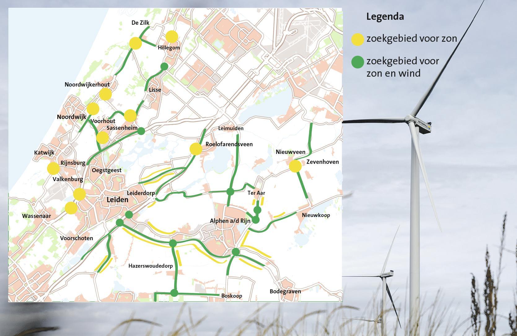 Windturbines en zonnepanelen langs wegen en bij knooppunten
