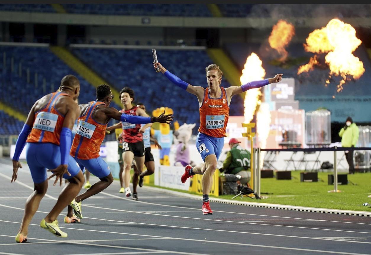 Atleet Tony van Diepen heeft in de Poolse winterkou een glansrol tijdens gouden estafetterace