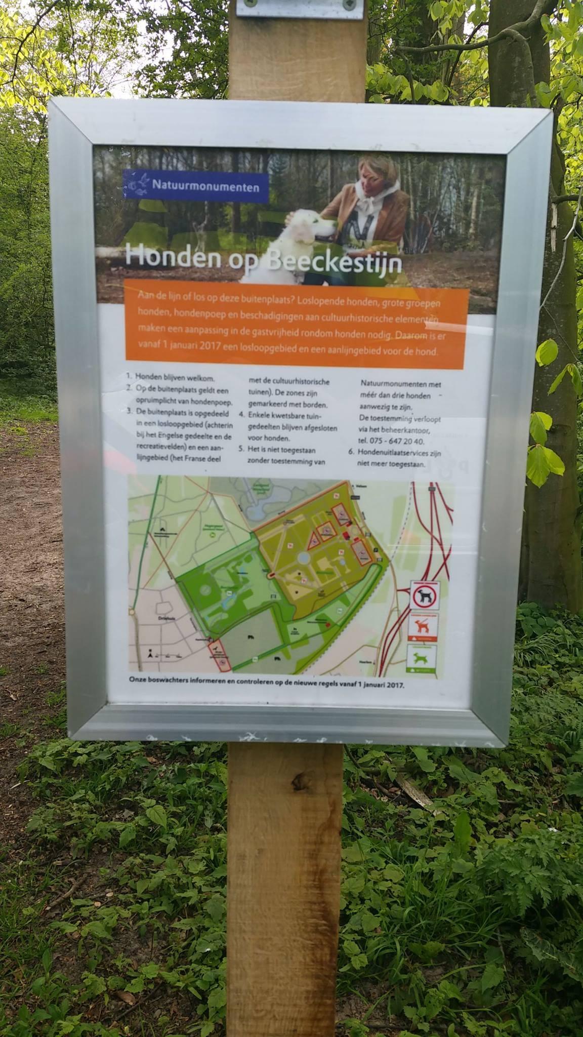 IJmuidense (56) opgepakt voor stelen bordjes losloopbeleid in park Beeckestijn