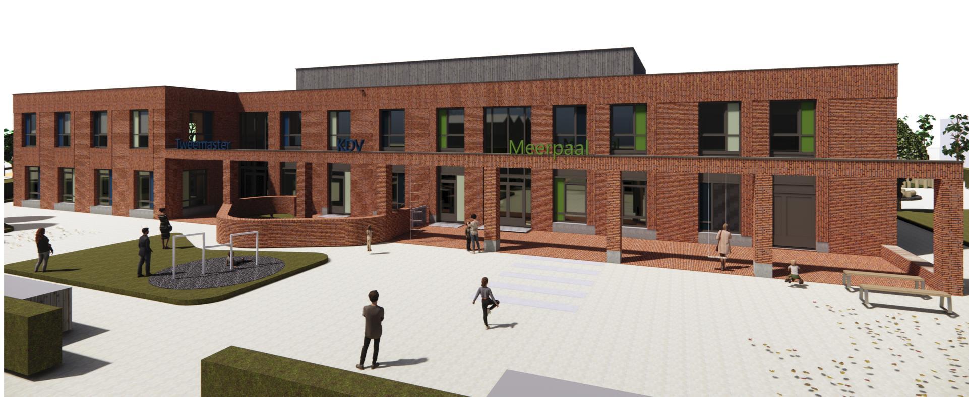 Nieuw schoolgebouw Broekplein krijgt 'daklokaal', in een groene zee