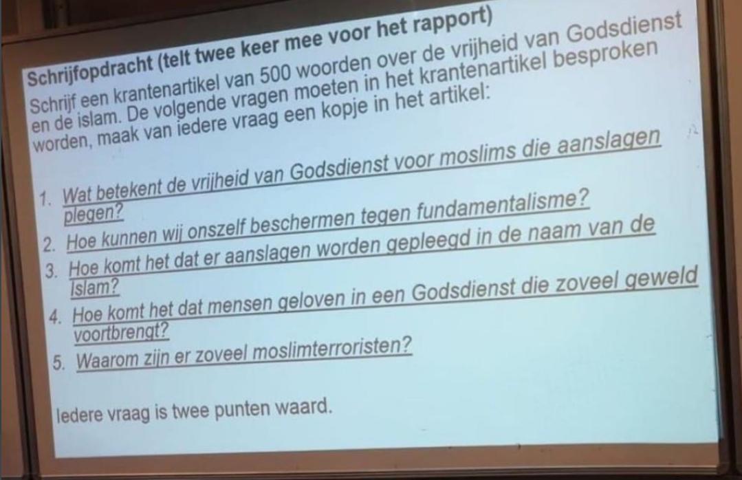 Twitter 'ontploft' over islamofobe schrijfopdracht op Visser 't Hooft Lyceum, moskeeën ontstemd, directeur neemt afstand