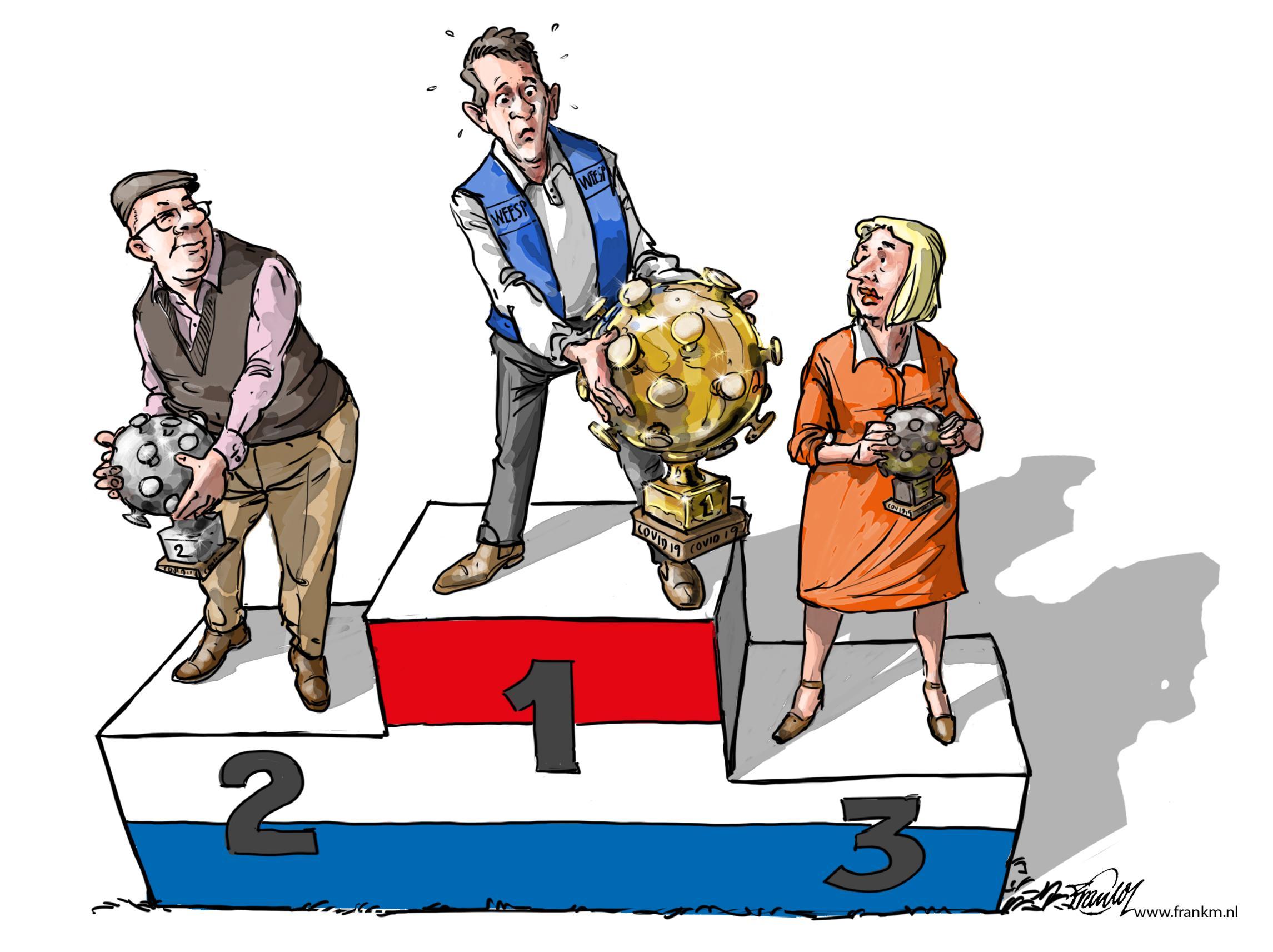 Weesp nummer één op een podium waar je toch liever niet staat | cartoon Muntjewerf