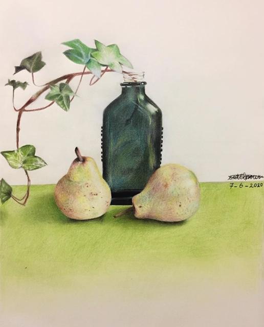 Weesper kunstenares Nour Kayali (14) stak als peuter haar handjes in de verf, zaterdag exposeert zij in atelier De Ontdekking