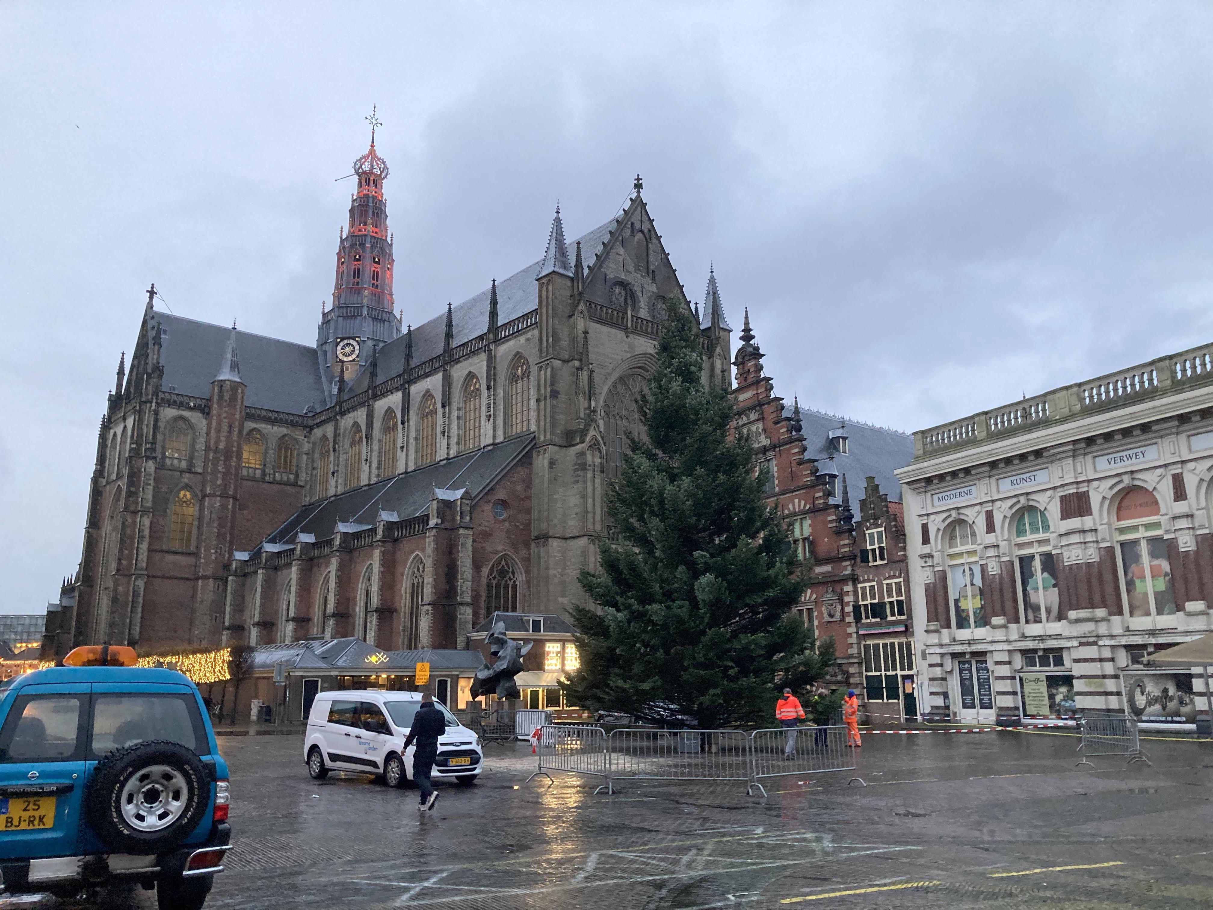'En hij stáát!' Grote Markt Haarlem weer verrijkt met kerstboom