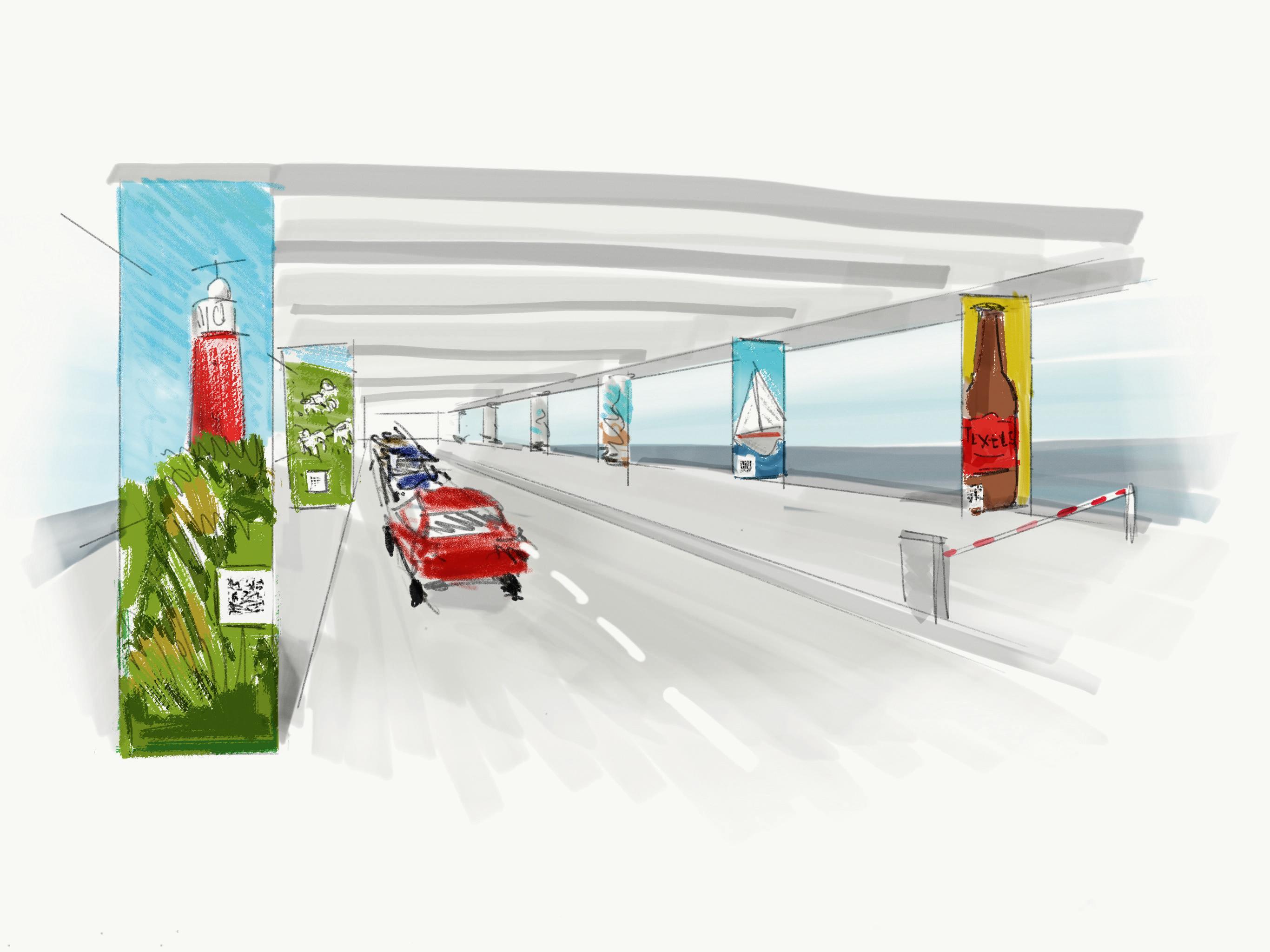 Kleurige schilderingen op de betonnen pilaren in de Tesohaven om 'het Oostblokgevoel' weg te nemen
