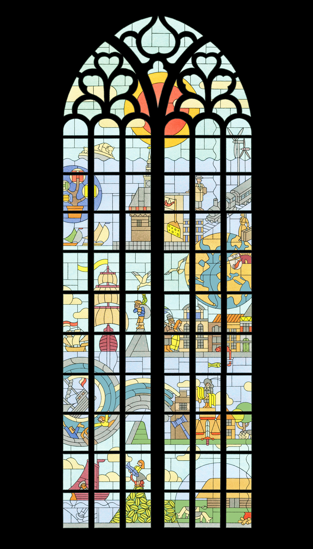 Kogel door de (Ooster)kerk voor bijzonder glas-in-loodraam