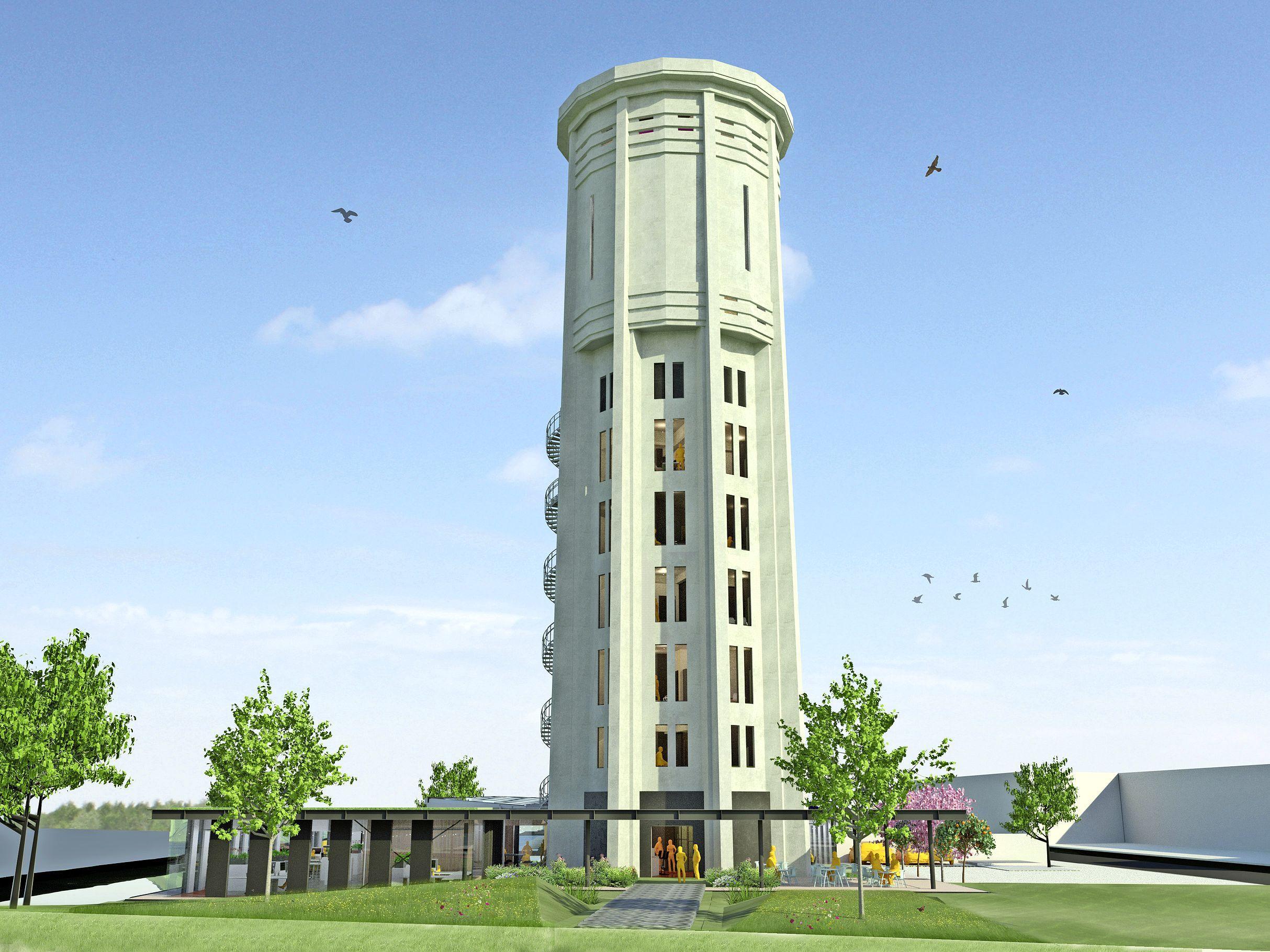 Schot in vernieuwing Hillegomse watertoren, die voortaan 'Watertoren Bollenstreek' heet
