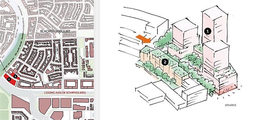 Woontoren in Haarlem langs Spaarne op plek van oud Fluorkantoor