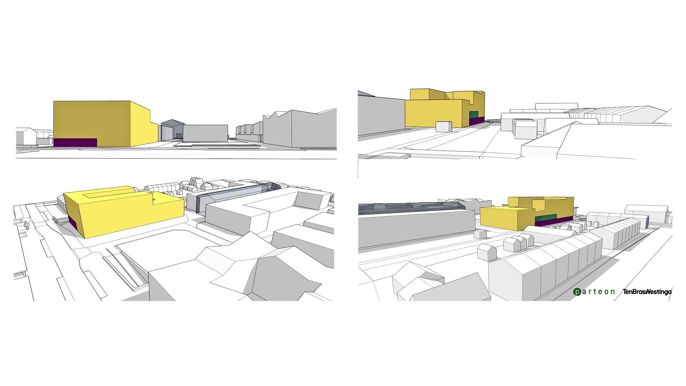 Buurtpodium bij Durghorst in Krommenie niet voor popbandjes, wel voor scholen en koren; 44 appartementen boven 'plint' van cultuurzaal en buurtcentrum Pelikaan