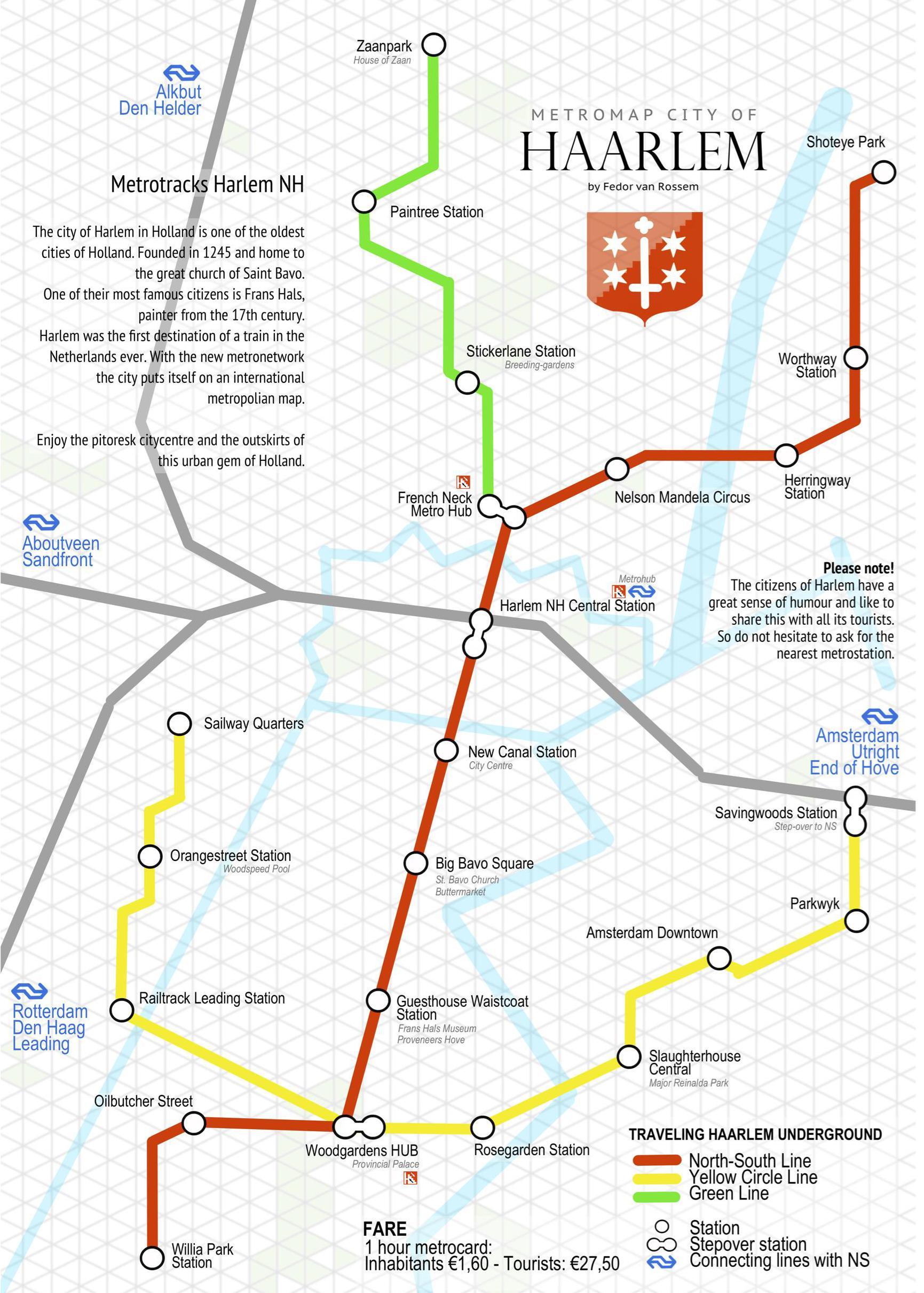 Van French Neck Metro Hub naar Oilbutcher Street: een fictieve metrokaart van Haarlem. Fedor van Rossem geeft de stad 'een raar soort internationale allure'