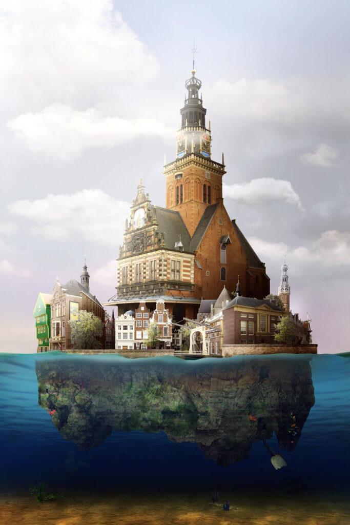 Ile d'Alkmaar. Een dromerige, dobberende stad vervoert de kijker naar een wereld van dromen. 'Ik heb bij Alkmaar een beetje vals gespeeld', zegt de kunstenaar