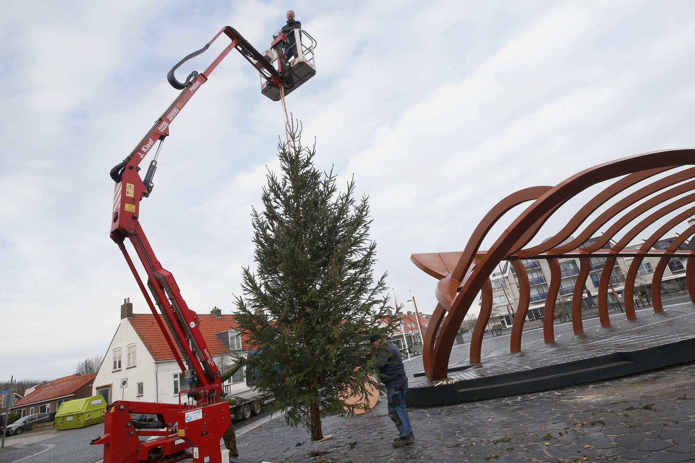 Geen kerstmarkt, maar wel een zeven meter hoge kerstboom op Plein 40-45 in Petten. Een cadeautje van de ondernemersvereniging