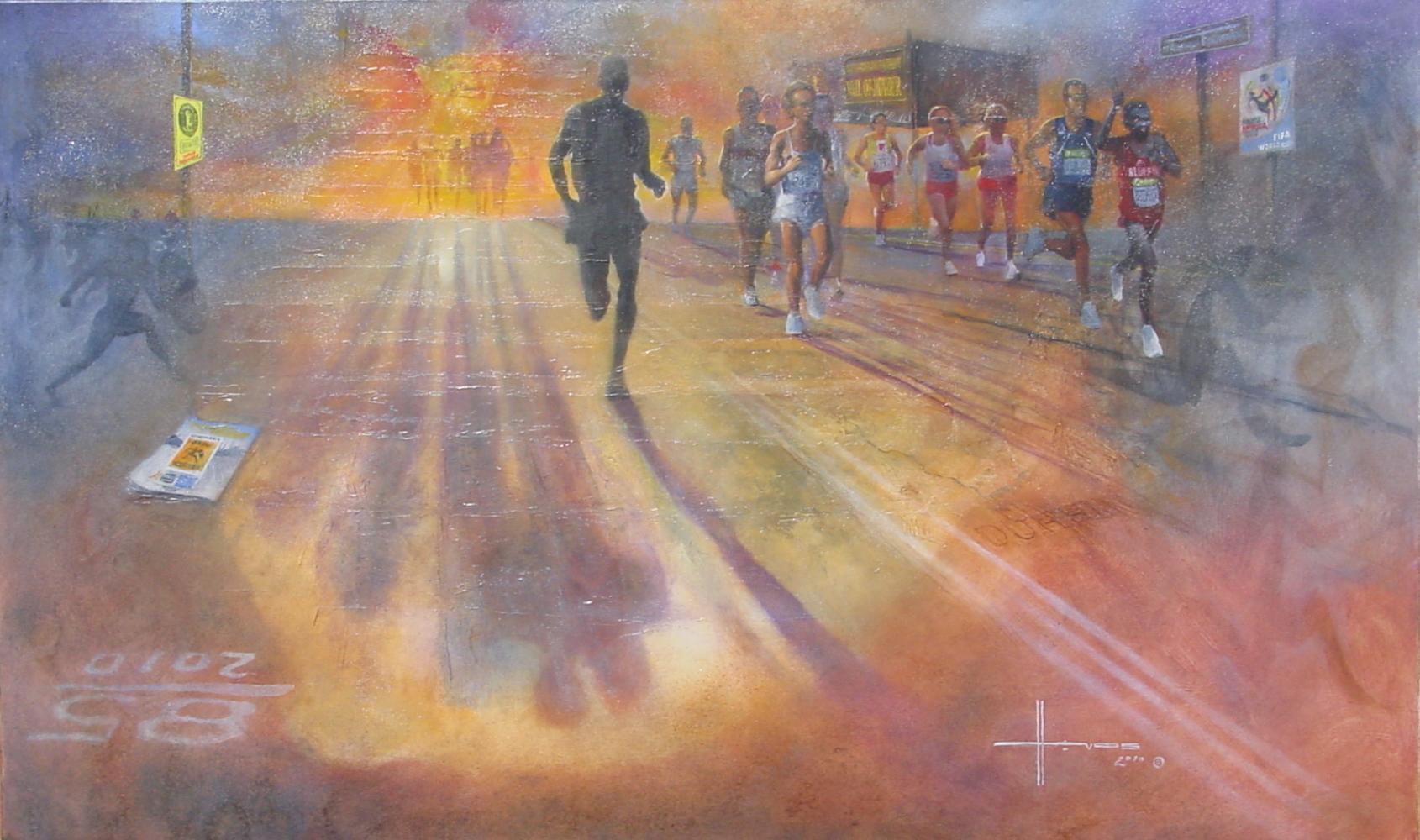 Hardloper, Beatle-adept en kunstenaar Henk Vos (73) uit Bergen blijft maar rennen. Komende zondag 90 kilometer van Leiden, via Amsterdam, naar Bergen
