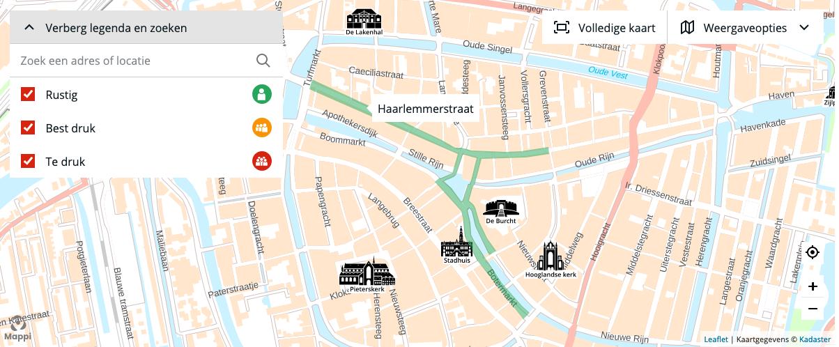 Met de druktekaart is het eenvoudiger om de veilige plekken in Leiden te vinden
