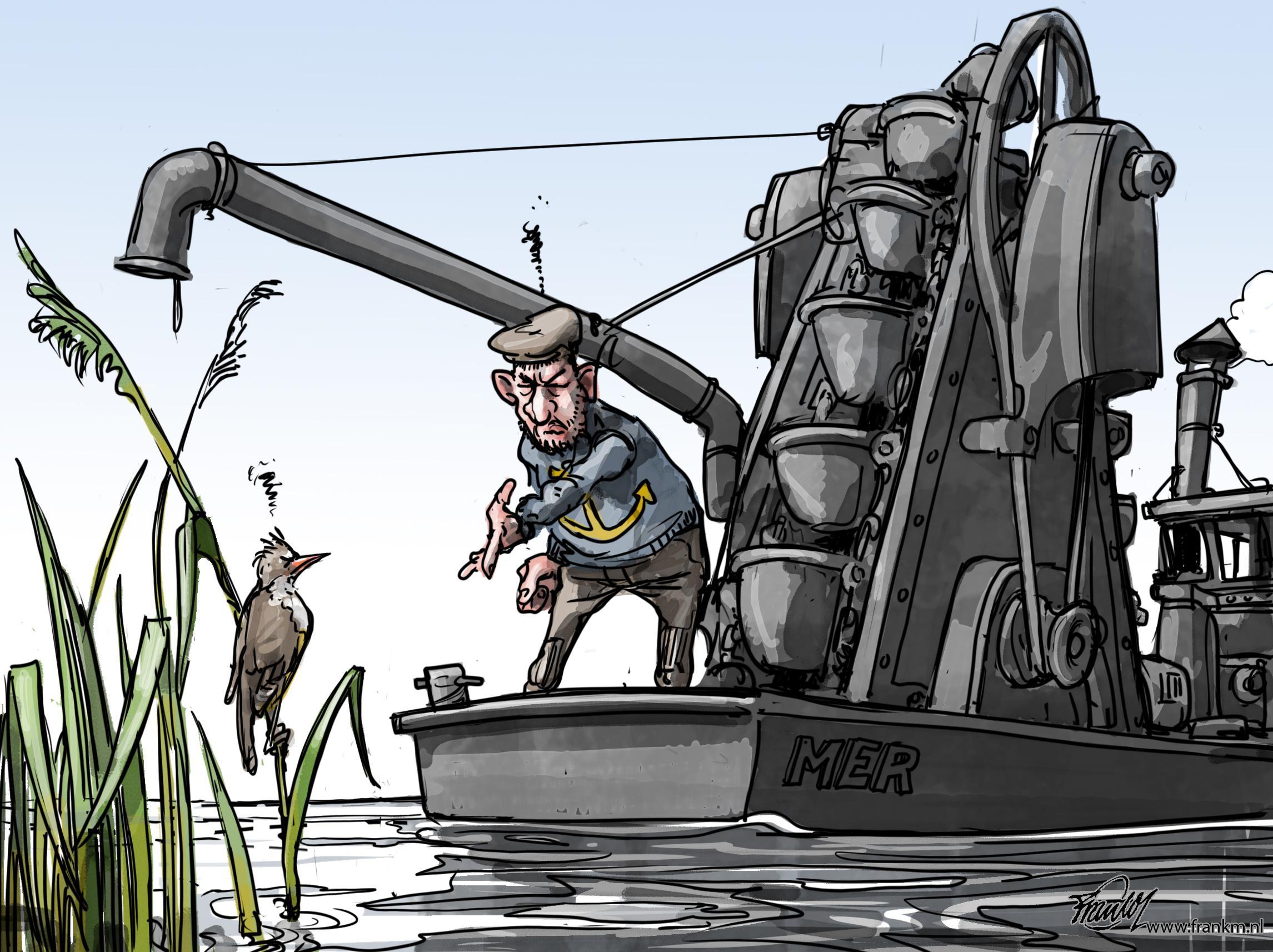 De grote karekiet vaarroute, dat gaat 'm niet worden | cartoon Frank Muntjewerf