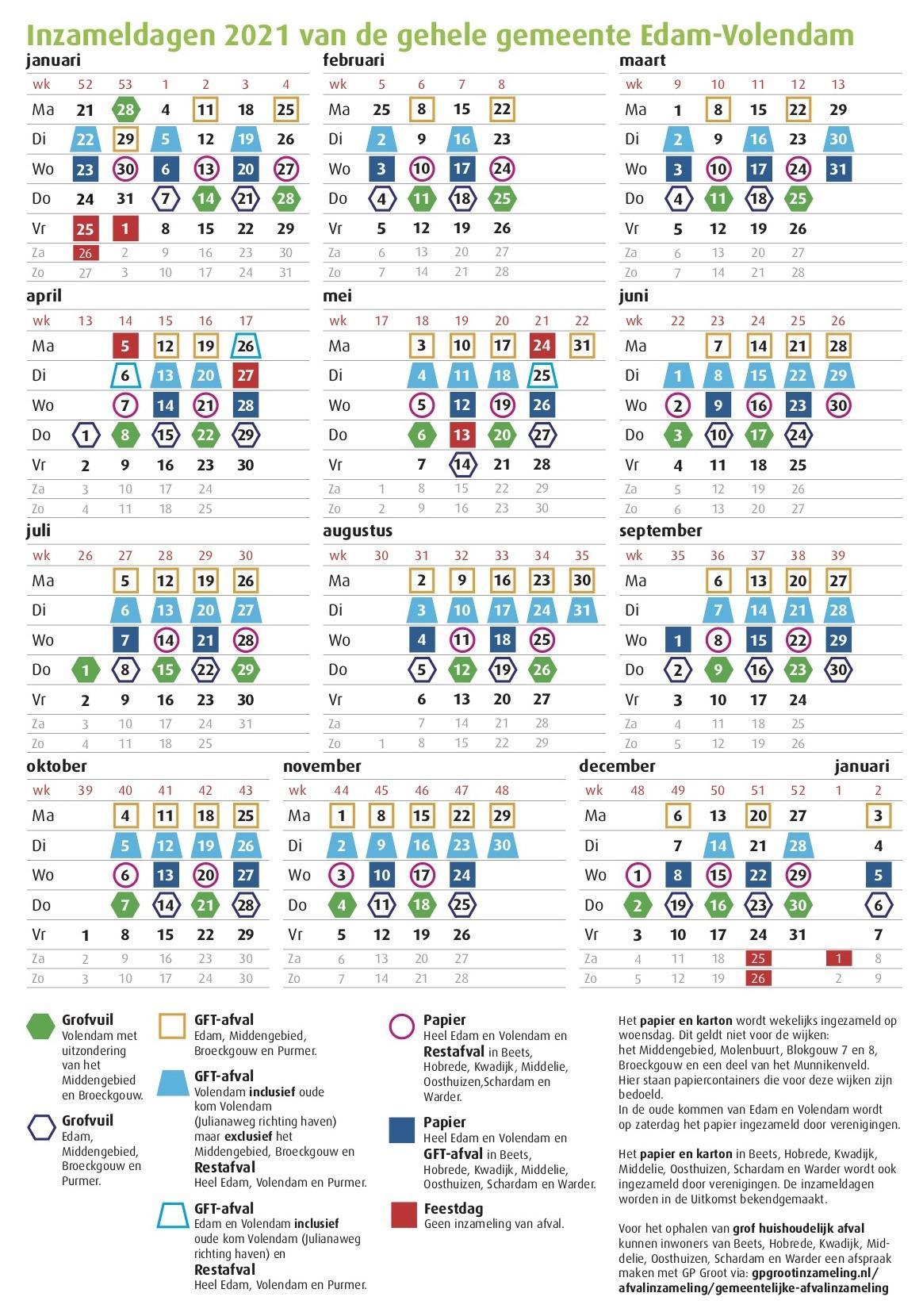 Gezeur over 'ingewikkelde' afvalinzamelingskalender Edam-Volendam, maar waarom eigenlijk? Hij is hartstikke duidelijk