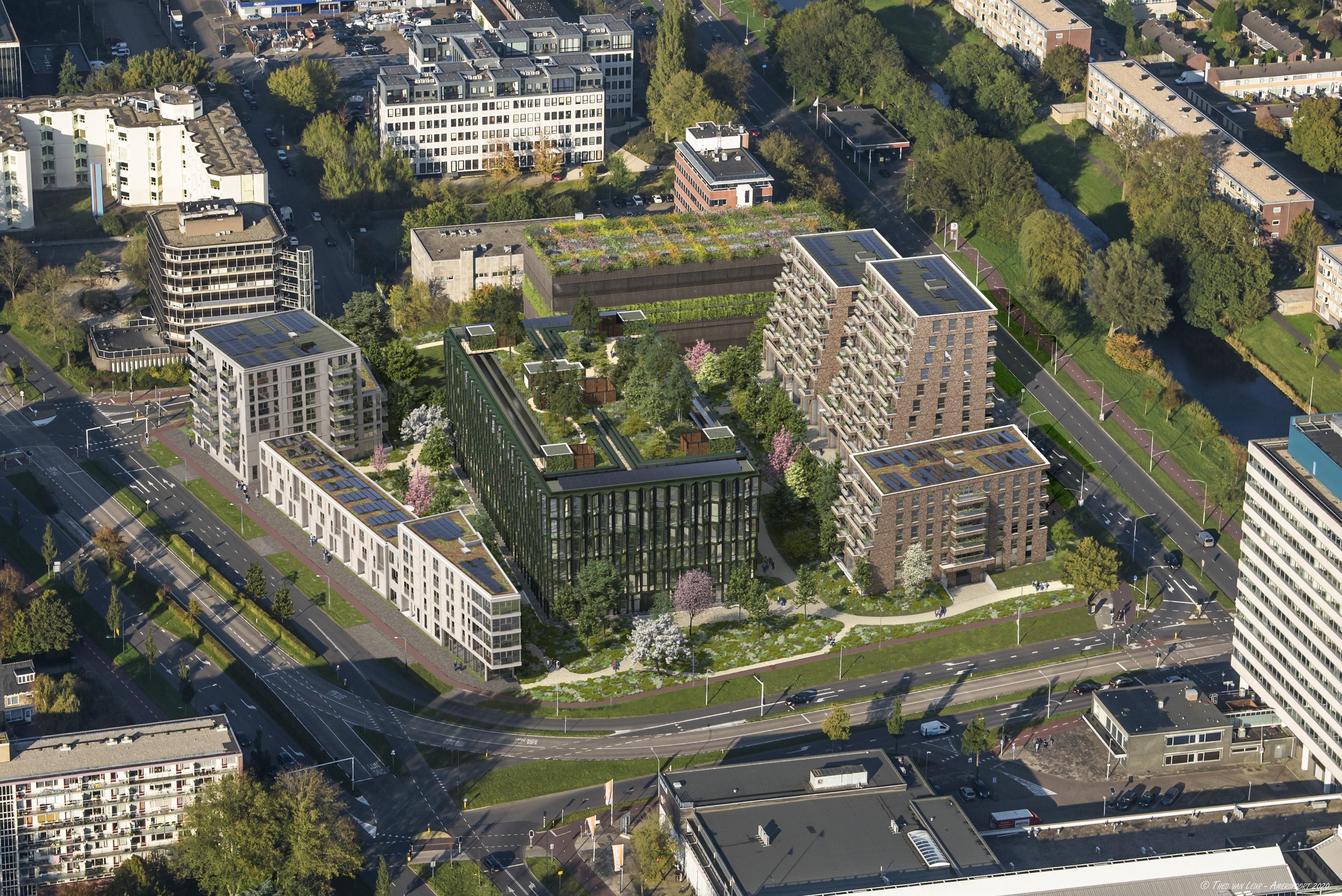 Verkoop van nieuwe woningen in voormalig Fluor-kantoor in Haarlem begonnen. Schalkwijk Midden verandert snel van uiterlijk