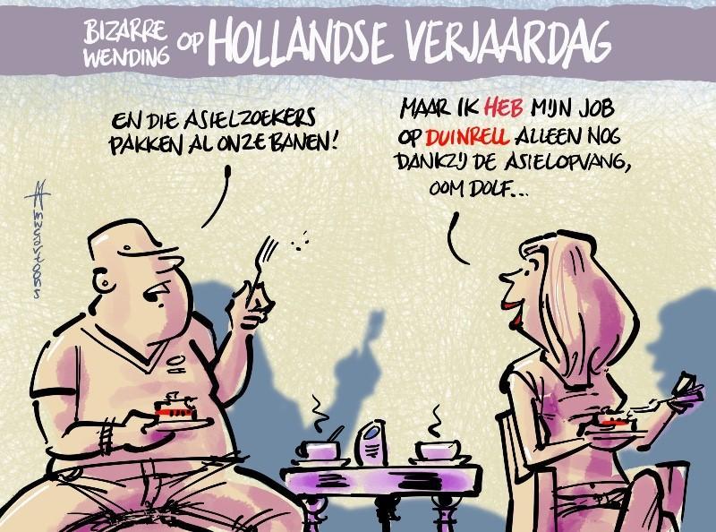 Asielzoekers houden Duinrell overeind | Cartoon Maarten Wolterink