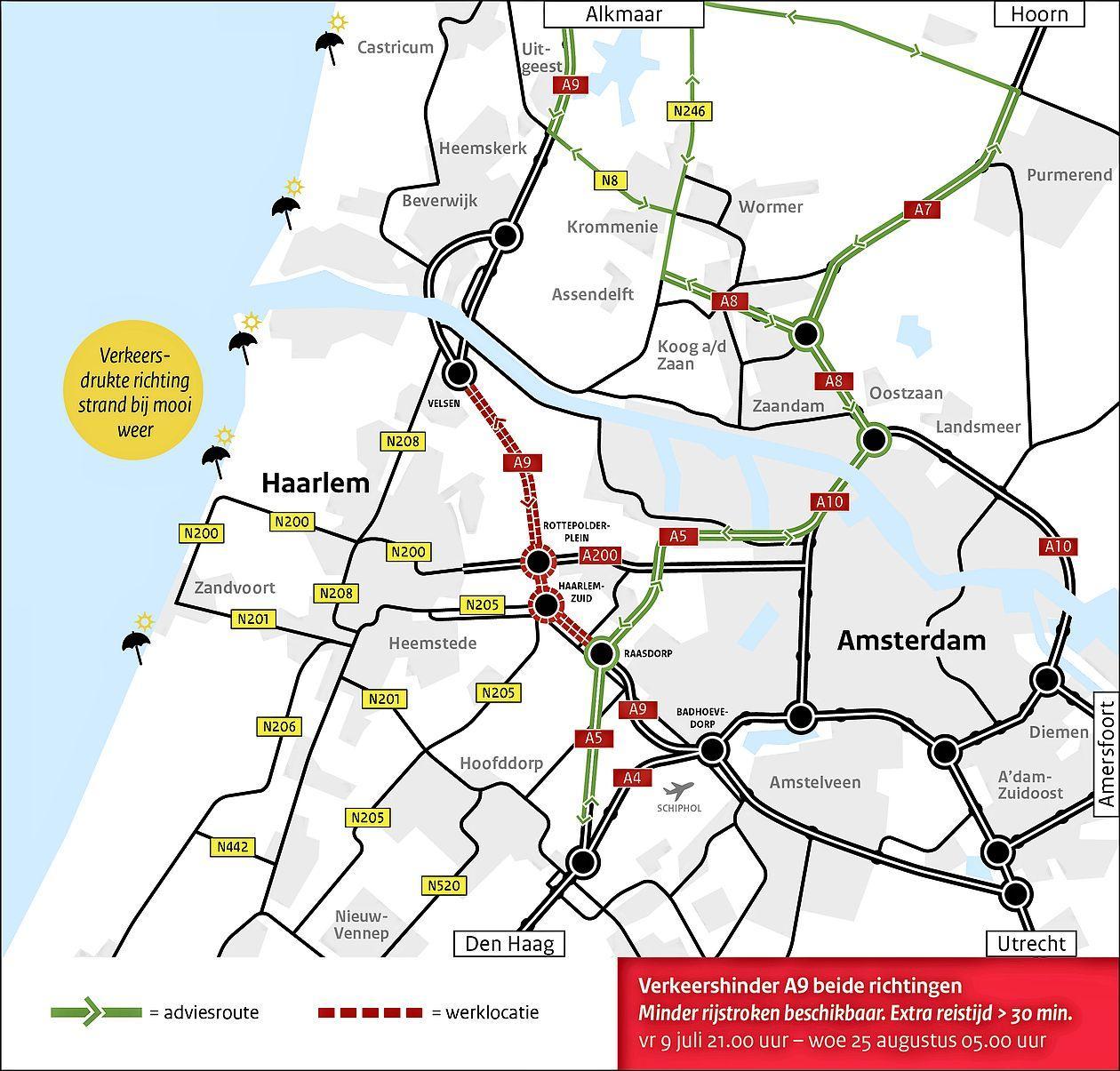 Ruim zes weken verkeershinder op de A9 door groot onderhoud