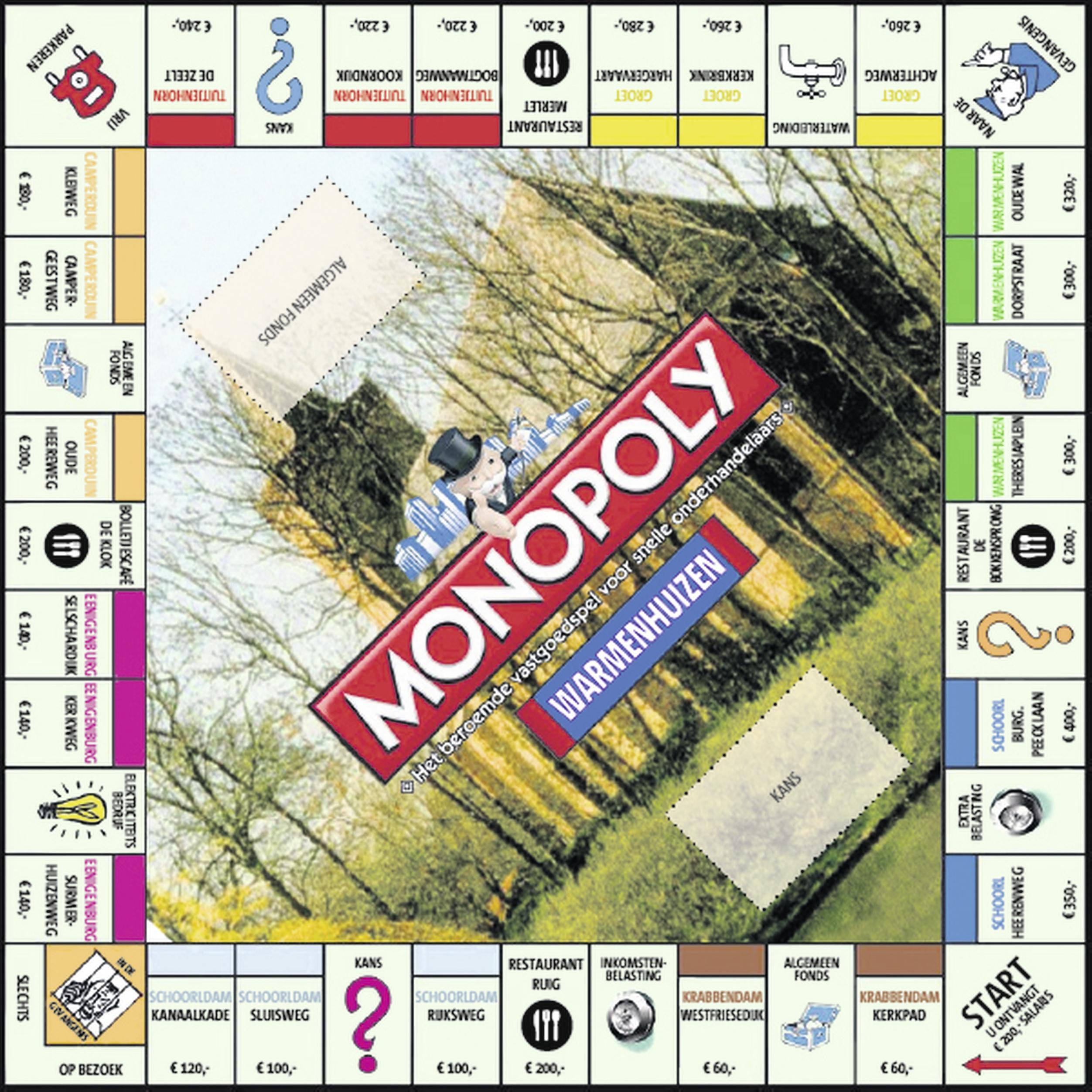 Monopolyspel met straten uit Warmenhuizen, Schoorl, Groet en Tuitjenhorn; En de klanten van de plaatselijke supermarkt mogen bepalen welke dat zijn
