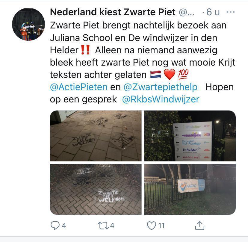 Posters en krijttekeningen pro-Zwarte Piet op gebouwen in Den Helder: de politie wil weten wie er achter zit