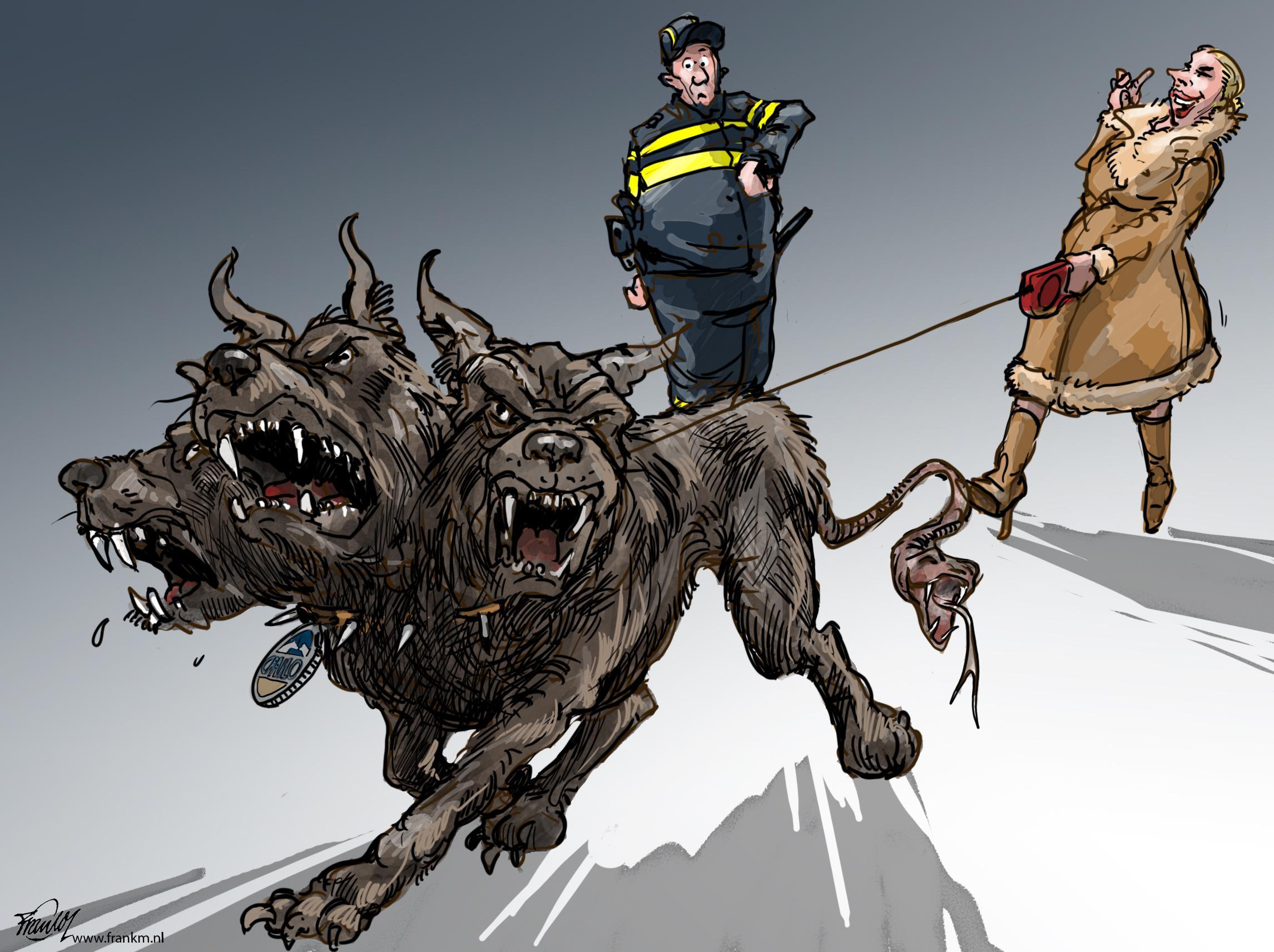 De avondklok-honden vliegen de deur uit. En dat is fijn, voor die honden | cartoon Frank Muntjewerf