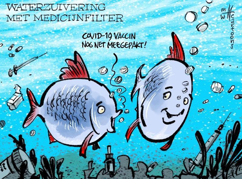 Cartoon Maarten Wolterink: Waterzuivering krijgt medicijnfilter