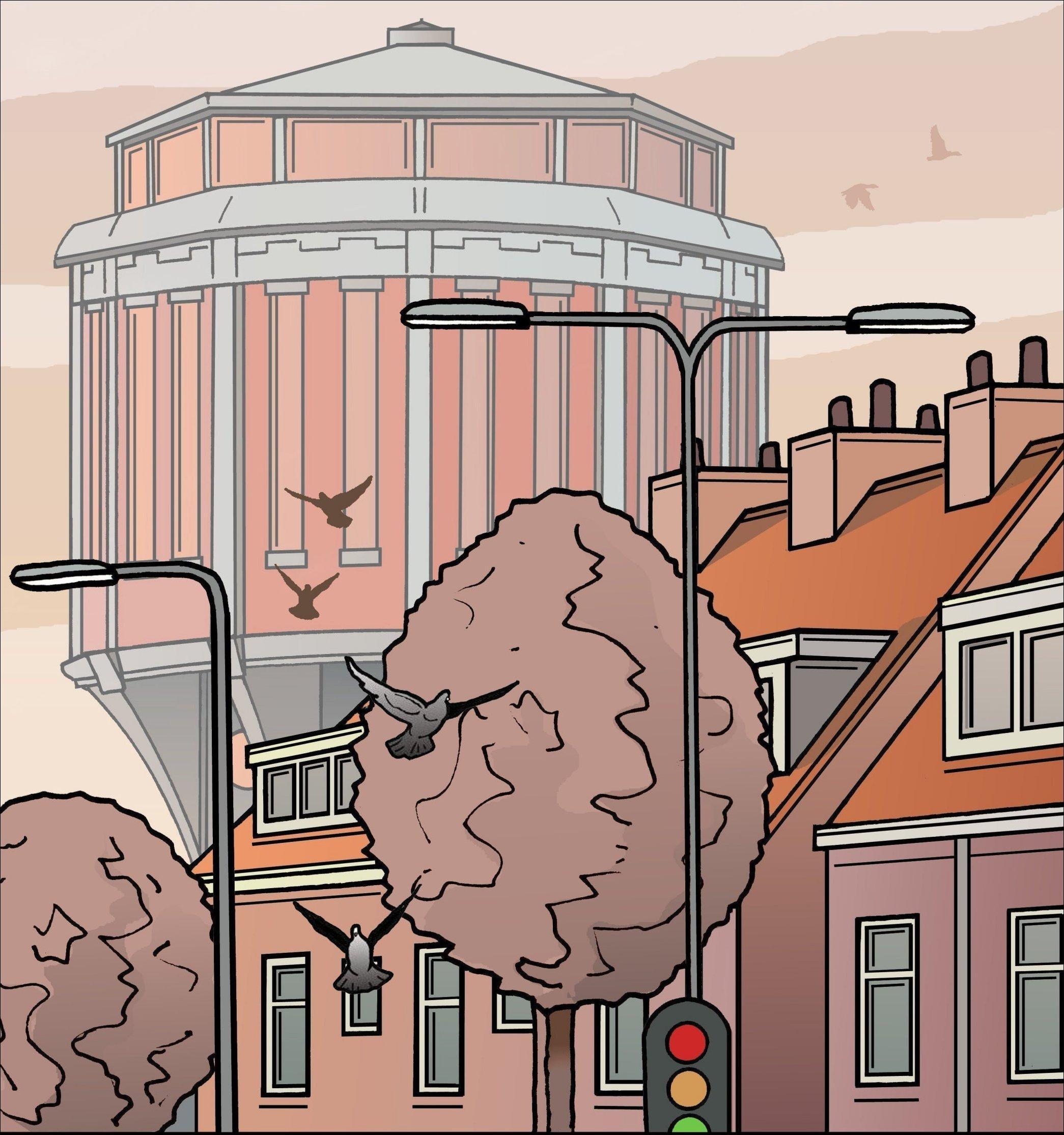 De watertoren van Van Manen   Leiden in Klare Lijn