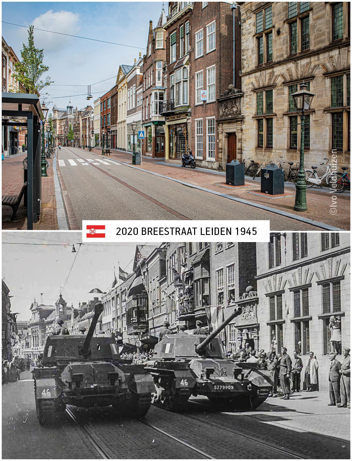 Fotograaf Ivo Veldhuizen fotografeert lege straten op plekken waar de Leidse bevrijding werd vastgelegd: 'Ik moest dat contrast laten zien'
