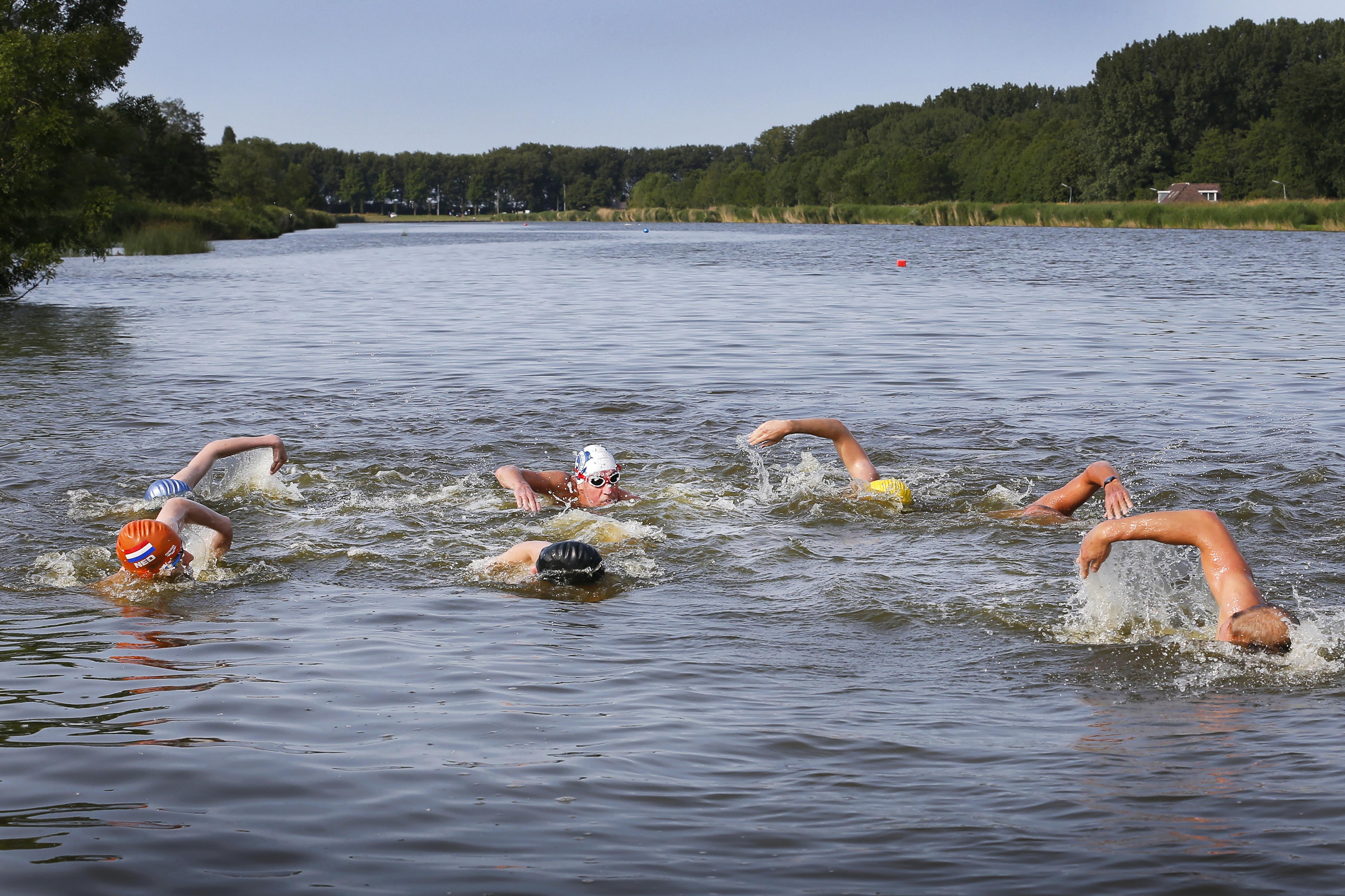 Zijkanaal B in Velsen-Zuid door coronacrisis extra in trek bij openwaterzwemmers
