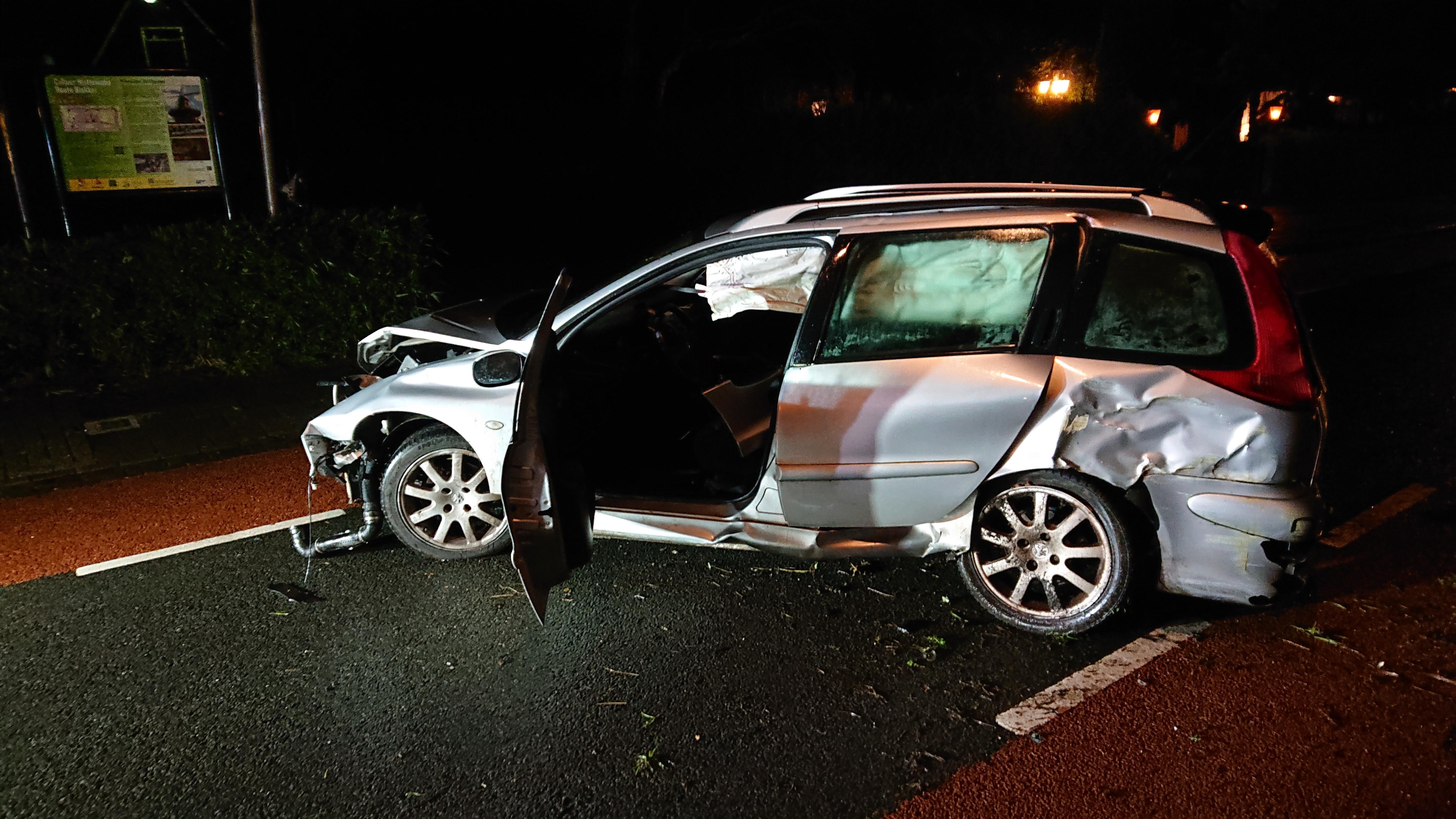 Auto ramt boom in Oosterblokker, bestuurder onder invloed