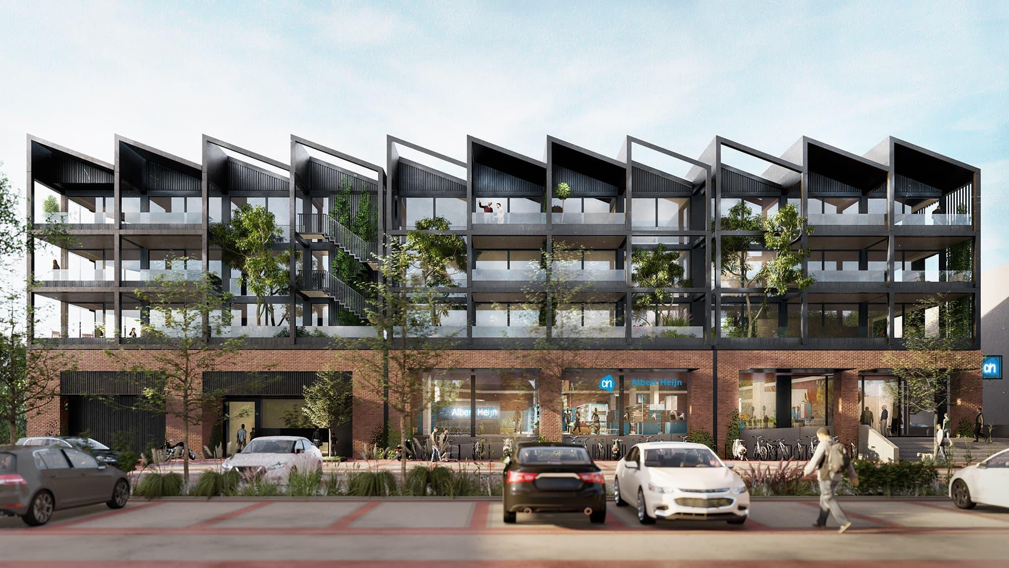 Supermarkt De Krijgsman wordt zoveel mogelijk transparant en krijgt 35 appartementen boven zich; Zecc Architecten heeft beste ontwerp gemaakt