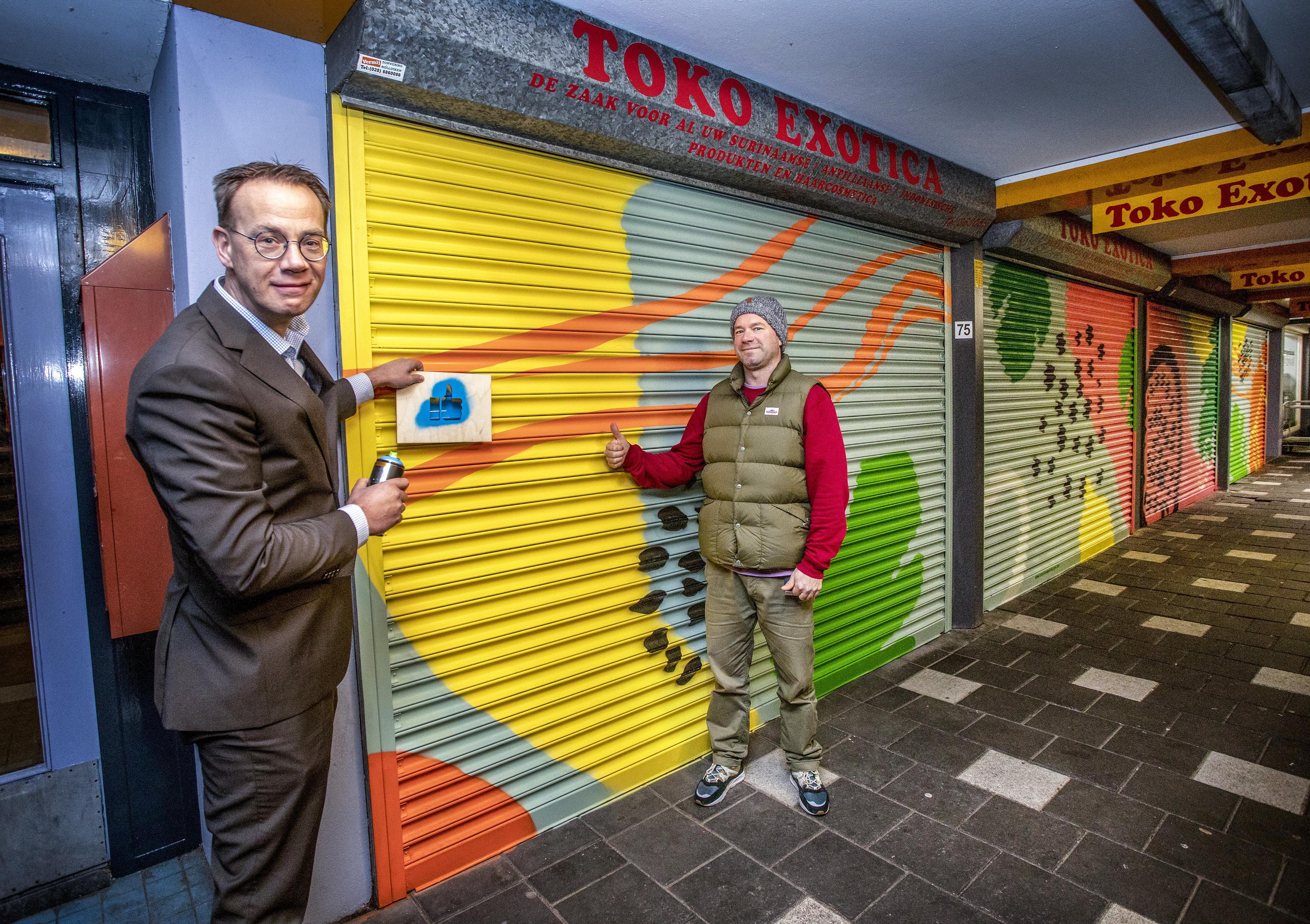 'Mini-galerie' op rolluiken in Haarlem-Oost: 'Iedereen ziet er iets anders in'