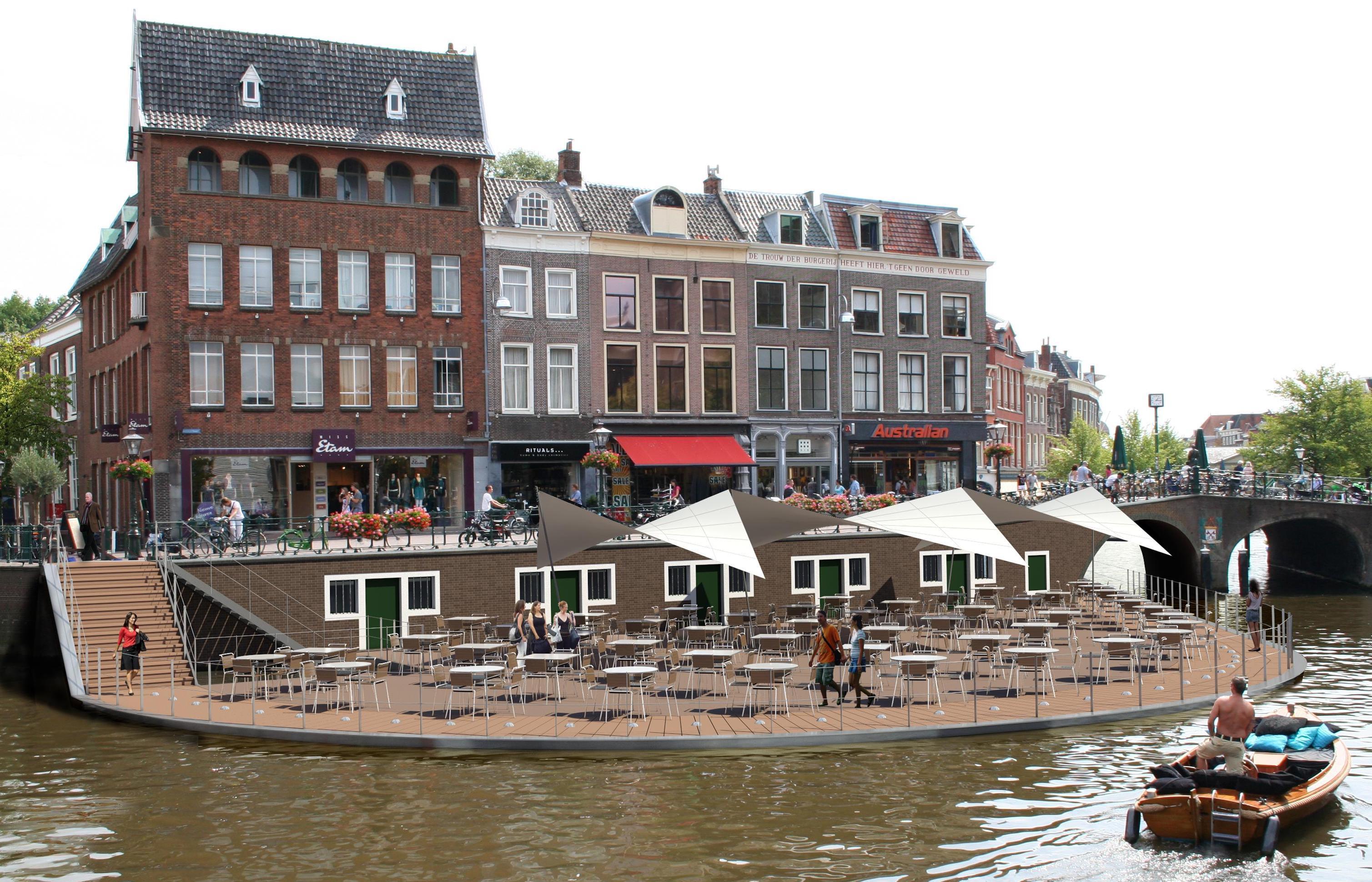 Compromis: nieuwe waterterras Annie's in Leiden met vier meter ingekort