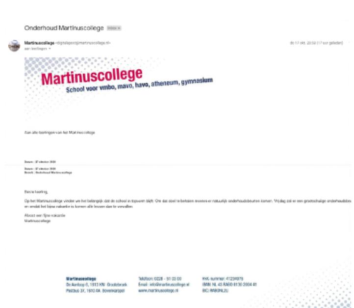 Mailverkeer Martinuscollege Grootebroek gehackt zodat leerlingen denken dat ze vrij zijn: 'Dader overziet gevolgen niet'