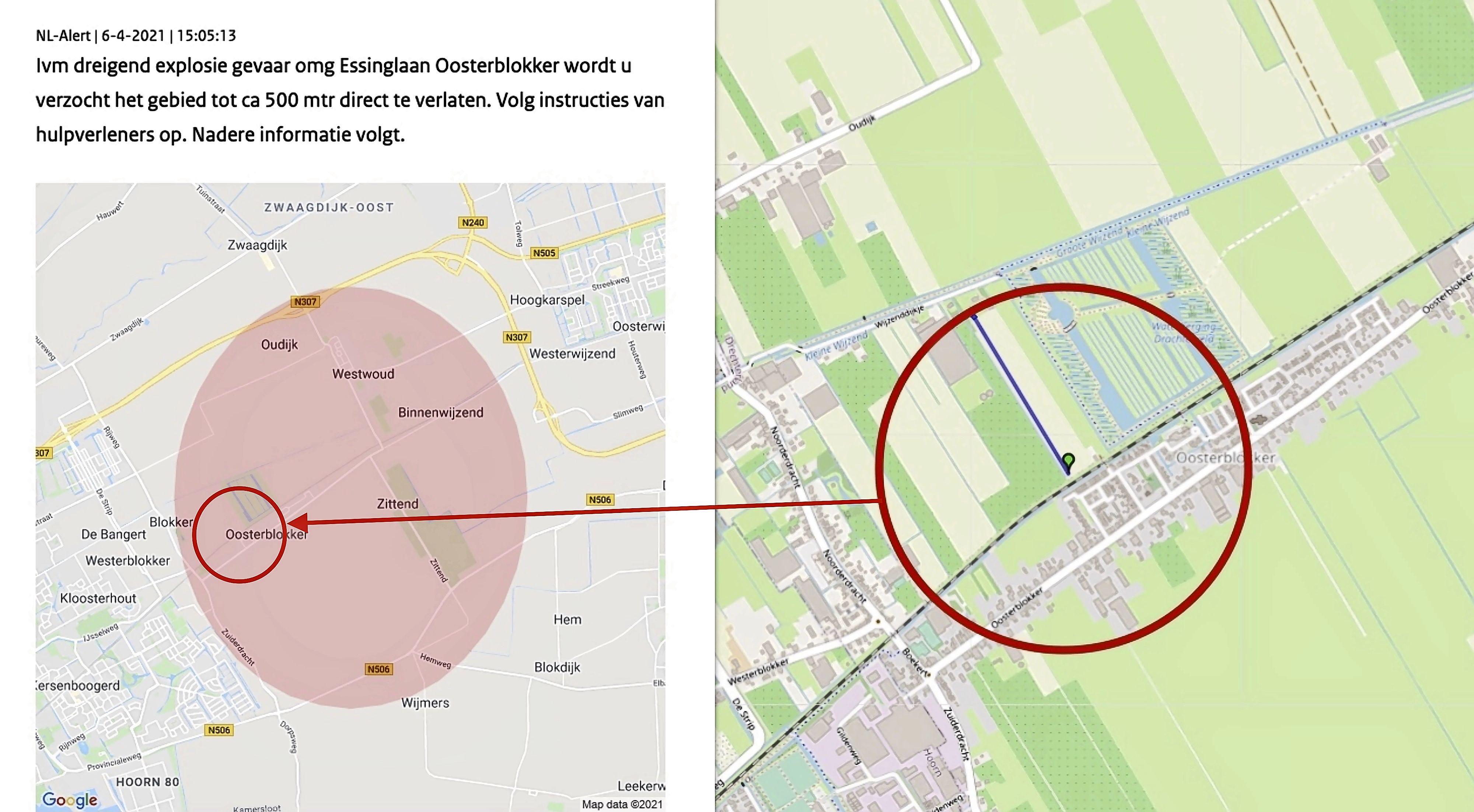 NL-Alert toonde veel grotere cirkel bij dreigende gasexplosie Oosterblokker dan gebied dat werd ontruimd