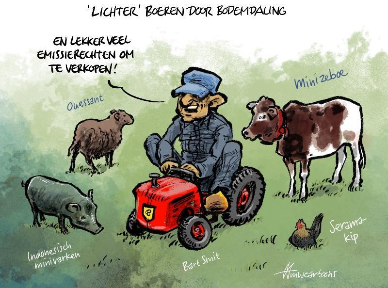 Cartoon Maarten Wolterink: Bodemdaling dwingt tot 'lichter' boeren