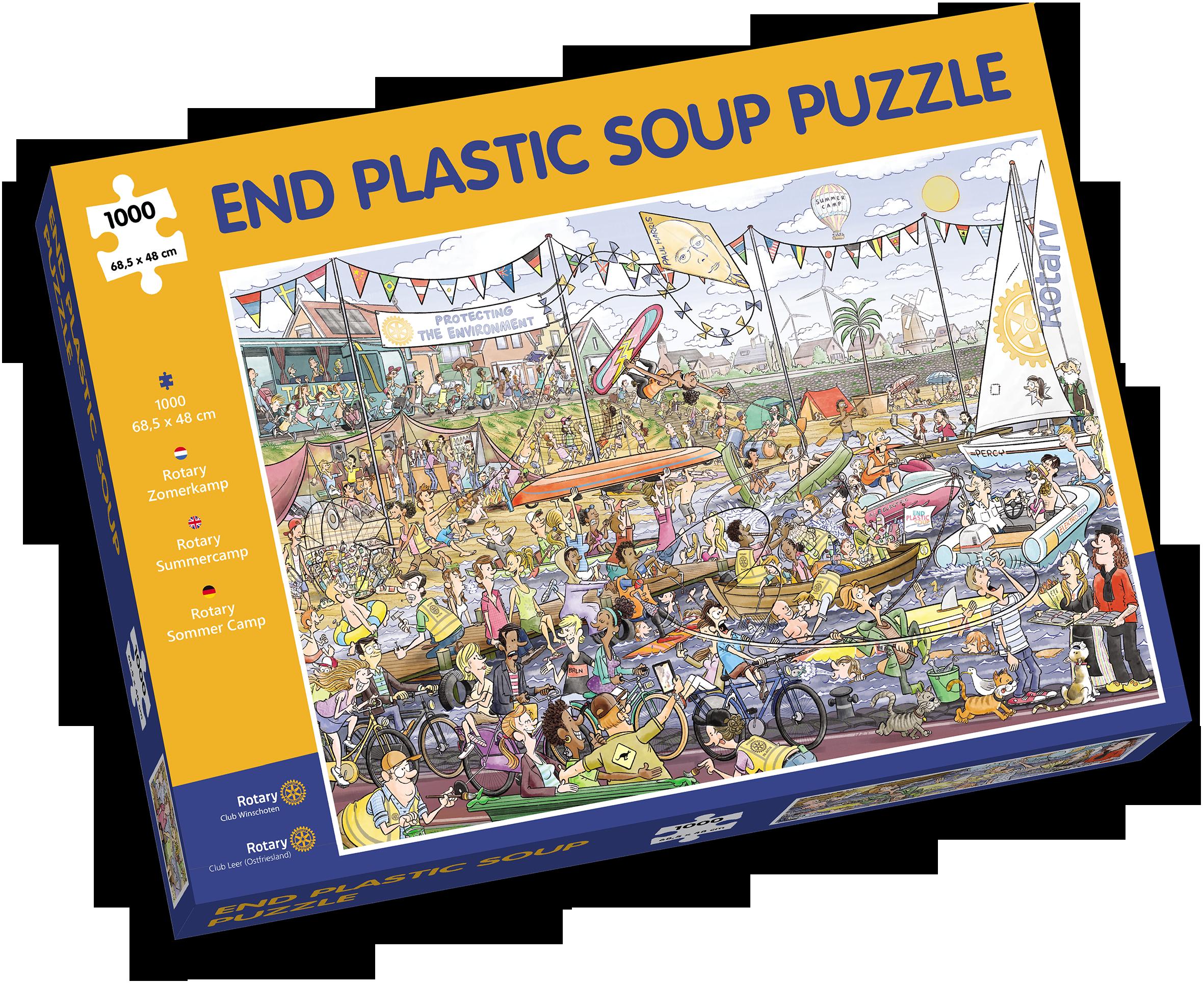 'Puzzel mee voor een schone zee'; Rotary Huizen Gooimeer met zomerpuzzel van duizend stukjes in actie voor stichting EndPlasticSoup