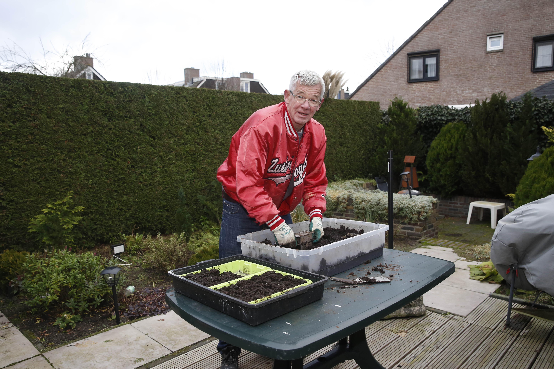 Hartje winter heeft Mart Mulder de zomer al in zijn kop. Hij zaait voor de Voedselbank. 'Je moet de plantjes uit de grond kijken'