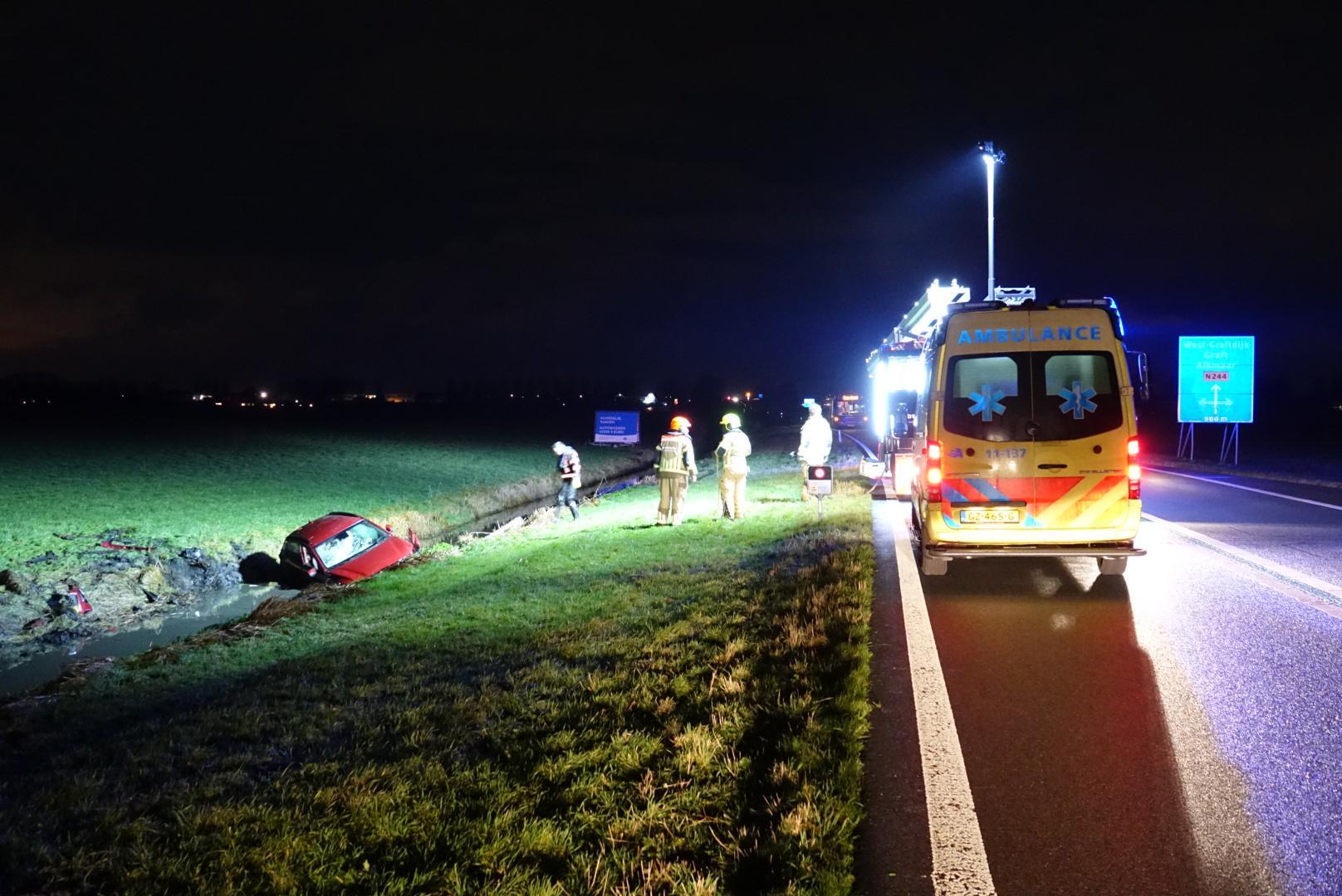 Auto belandt in sloot Westbeemster, twee inzittenden gewond