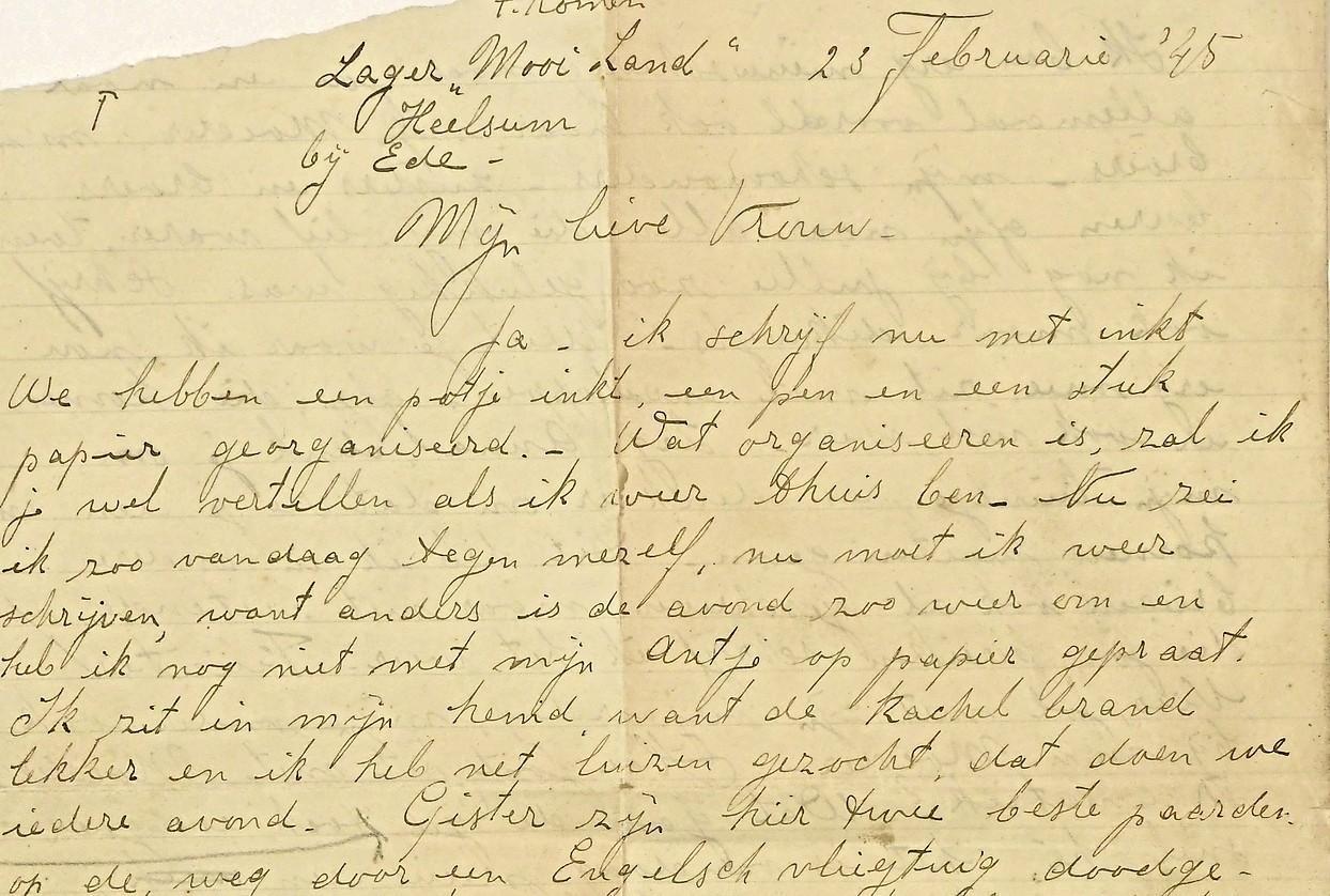 Angst, honger en luizen - NIOD is blij met brieven die opgepakte Piet Komen uit Waarland in 1945 schreef vanuit strafkamp