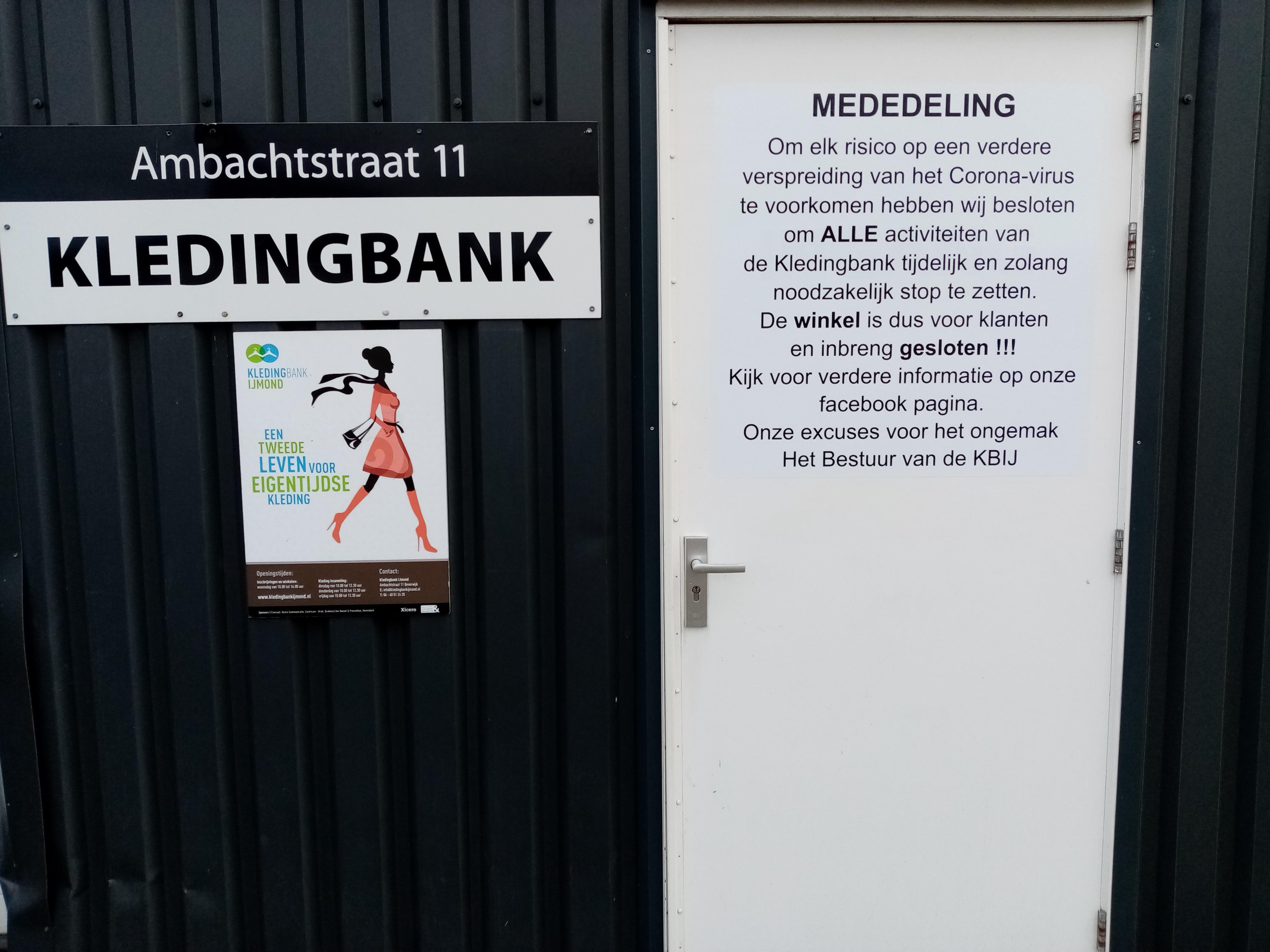 Kledingbank Beverwijk sluit vanwege 'het onzekere risico' van corona