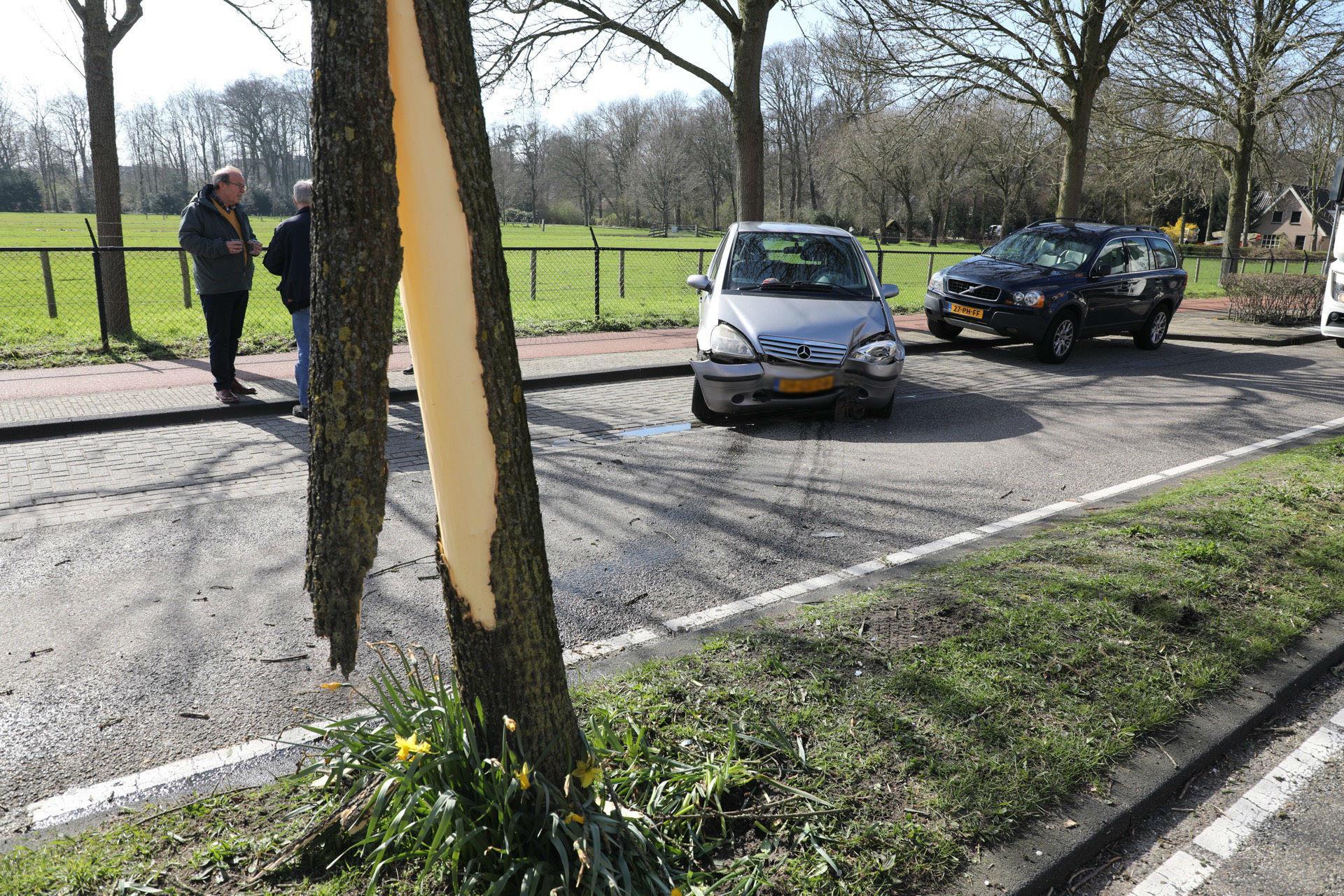 Auto botst tegen boom in Bloemendaal, bestuurder gewond