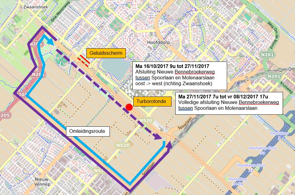 Nieuwe Bennebroekerweg bij Hoofddorp wekenlang afgesloten