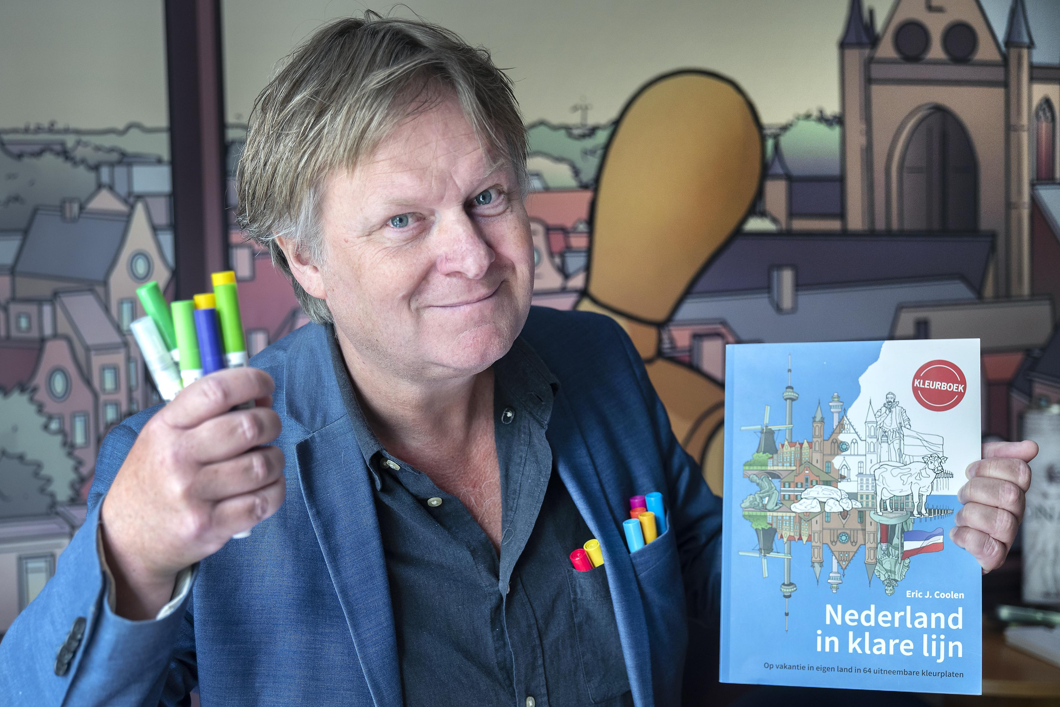 De Haarlemse tekenaar Eric Coolen is zelf altijd aan het kleuren