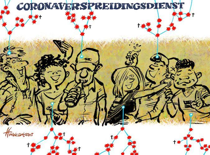 Cartoon: Coronaverspreidingsdienst