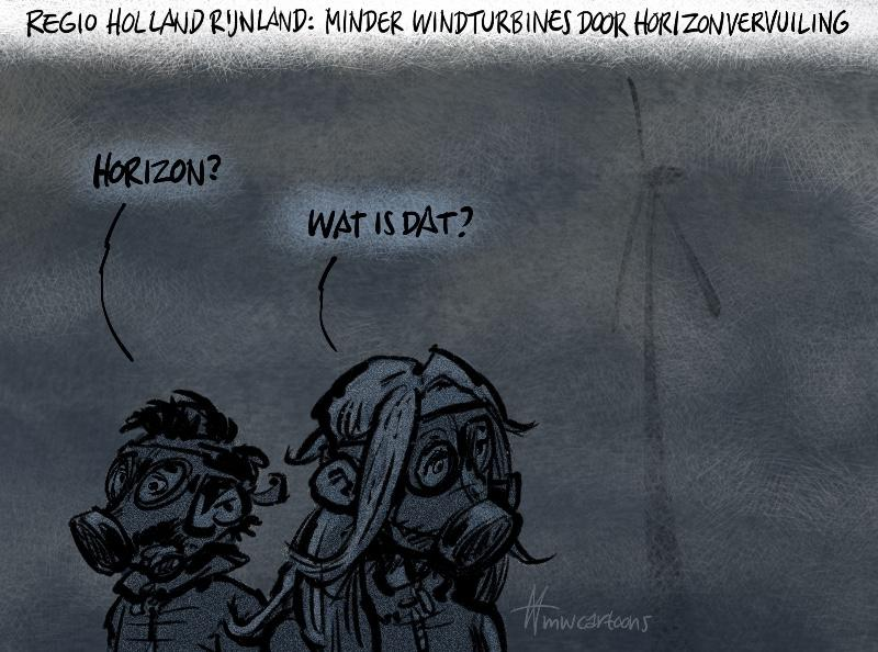 Cartoon Maarten Wolderink: Windmolens en horizonvervuiling
